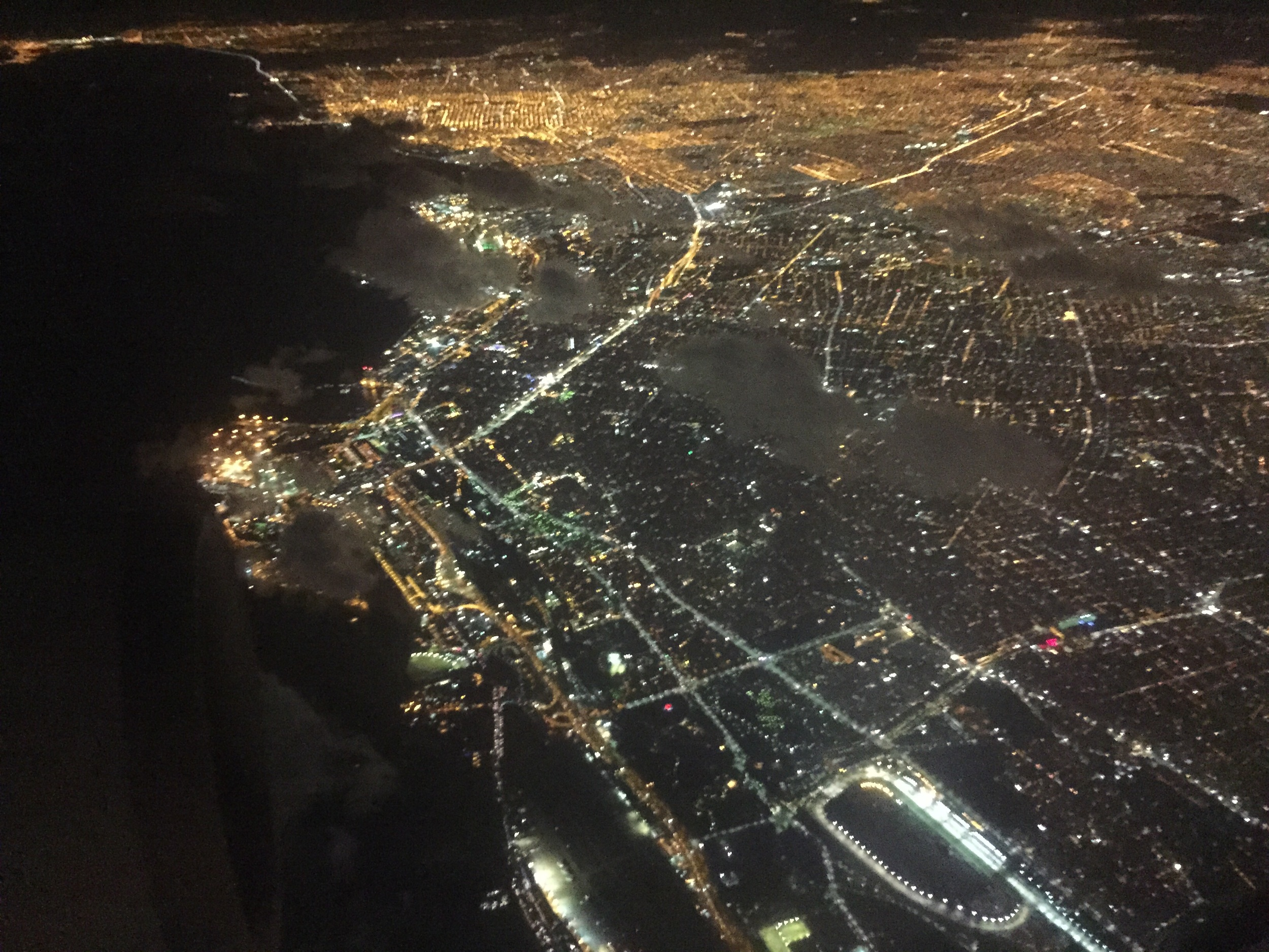 Buenos Aires at night from above.