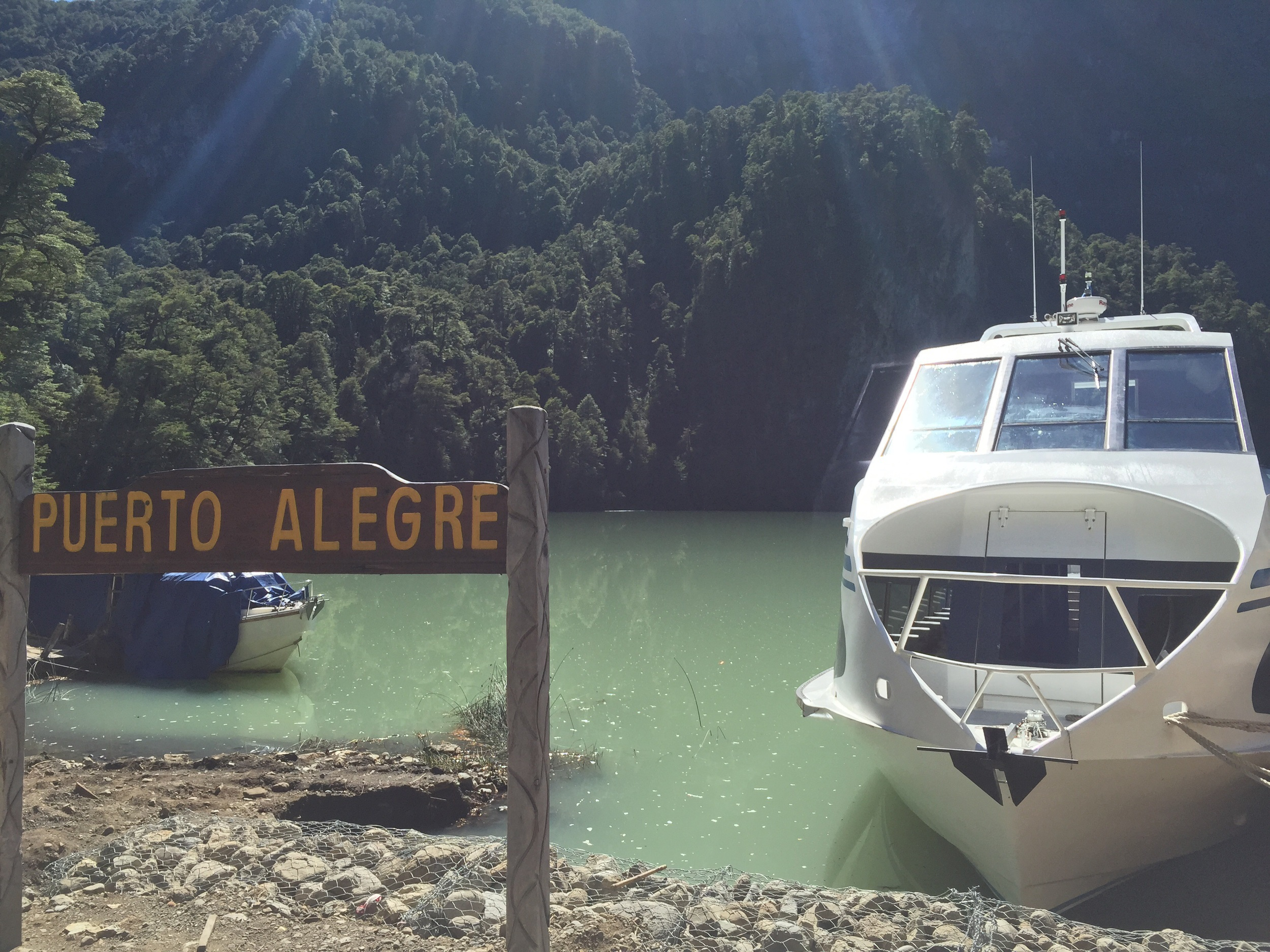 Boat number two across Lago Frías.
