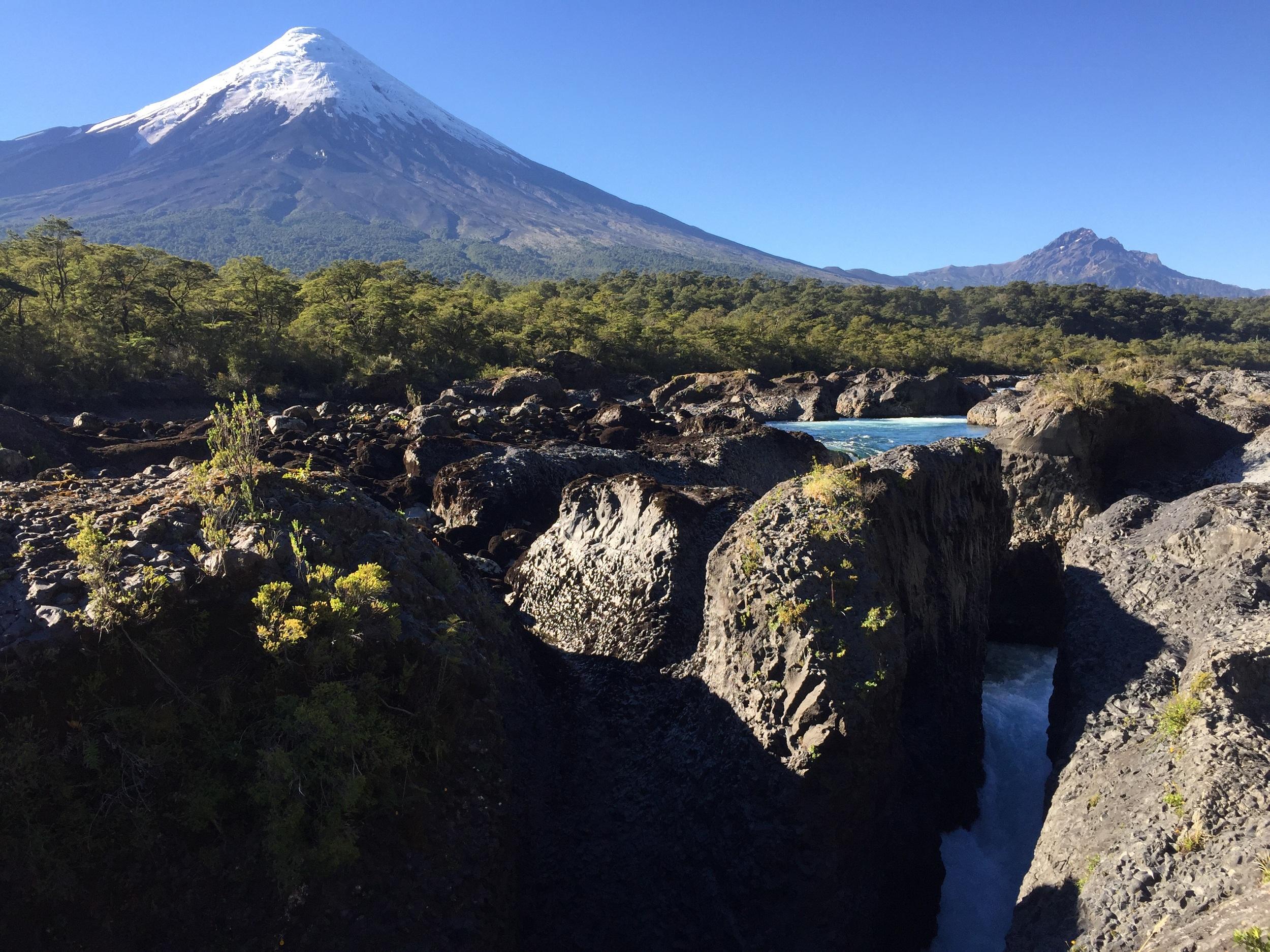 Volcano eruption created waterfall.