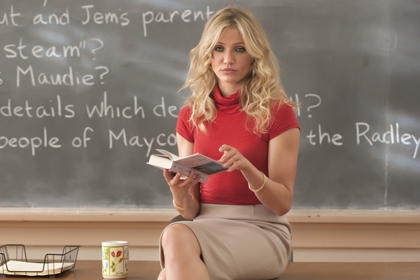 Cameron Diaz in  Bad Teacher.   Not the best example of planned antecedents.