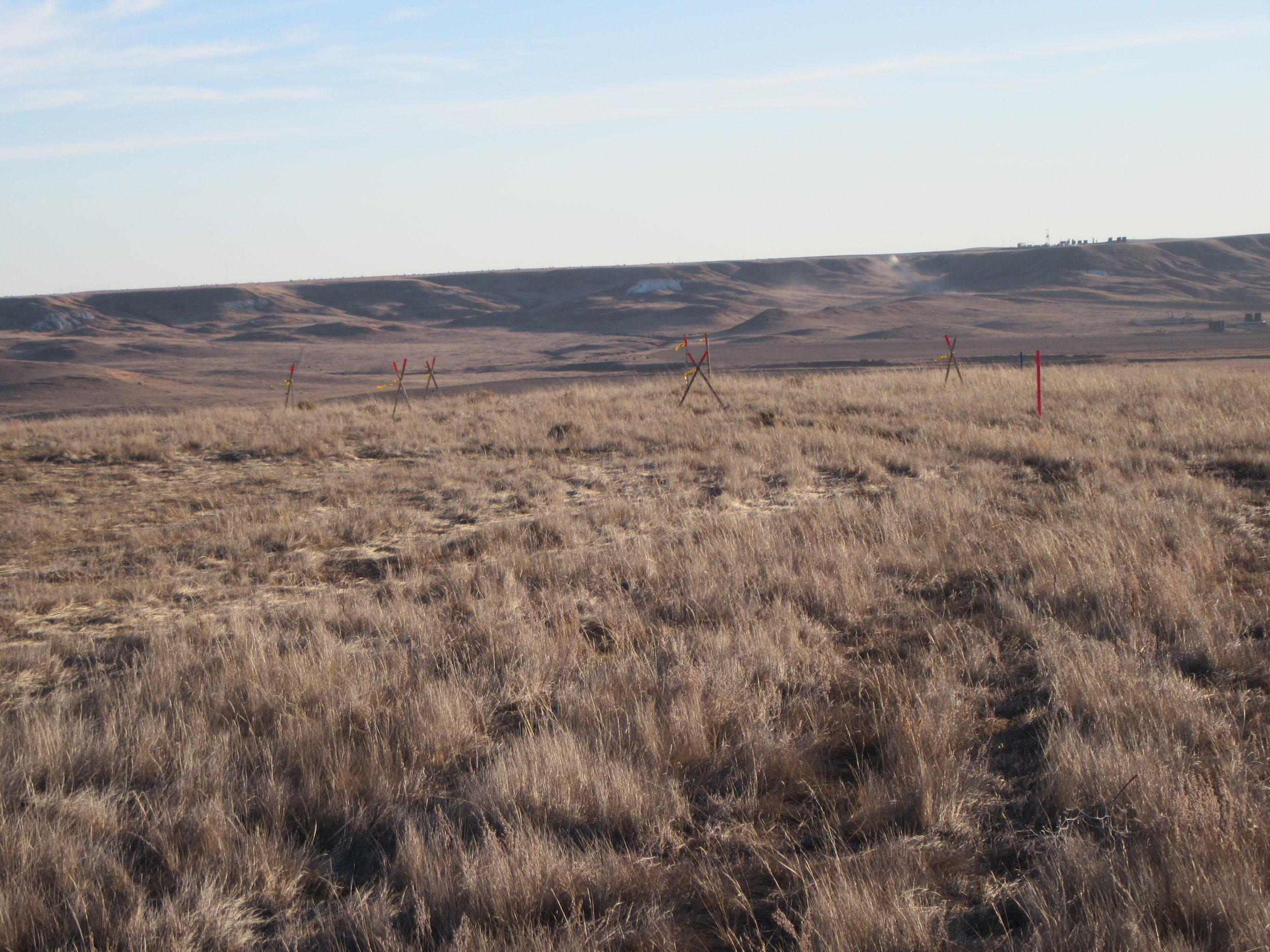 Stone cairns staked and flagged for avoidance along the Frenchman River valley in southwest Saskatchewan.