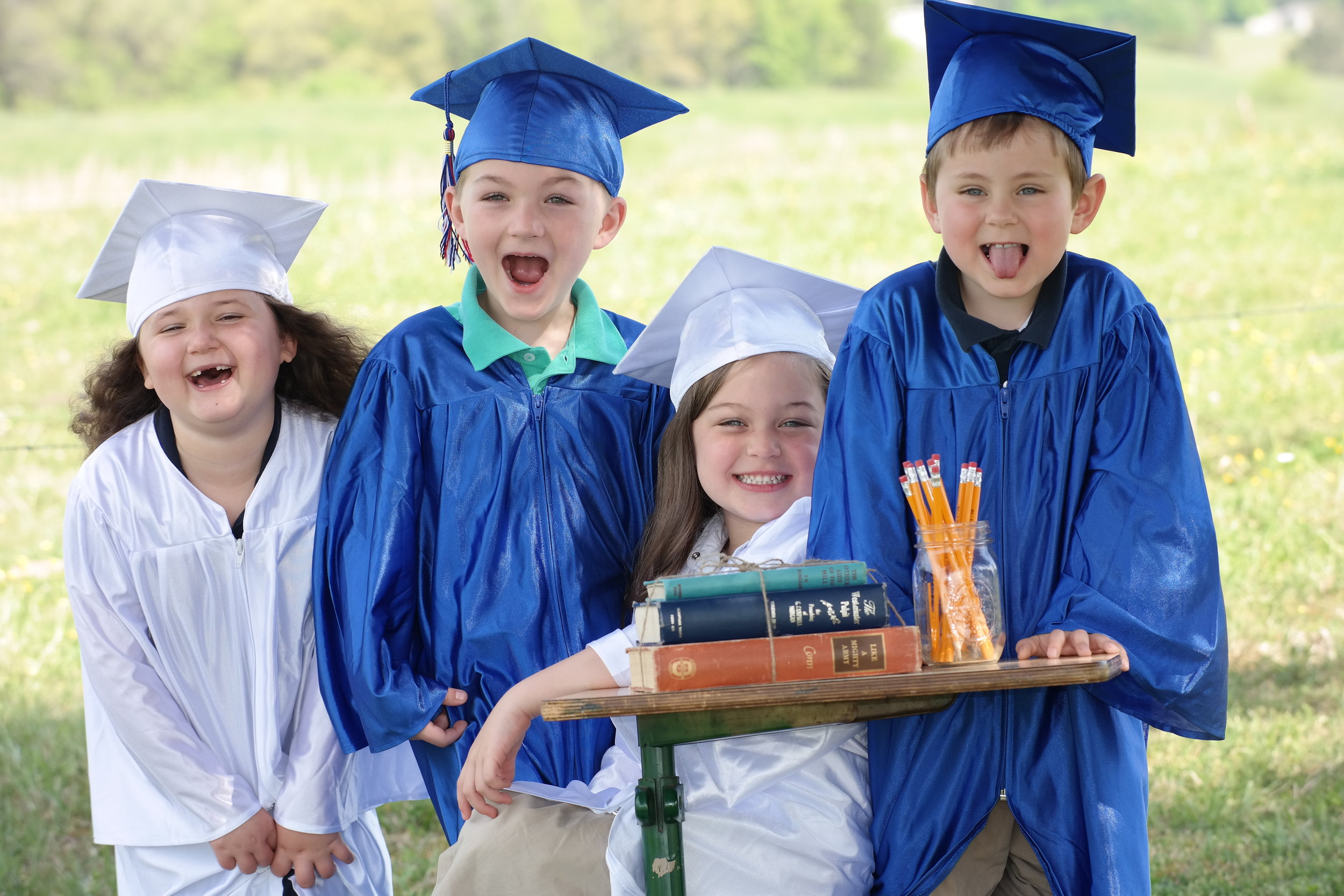 Congrats to our Kindergarten Graduates of 2018!! Halyn Rayburn, Neyland Ayres, Adalynn Tindell, & Hunter Gass