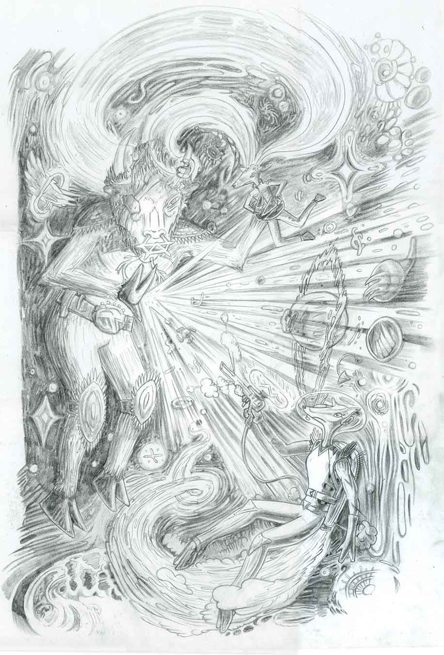Drawing for  OUT THERE!,  a graphic novel by  Torso Inc. , graphite on paper