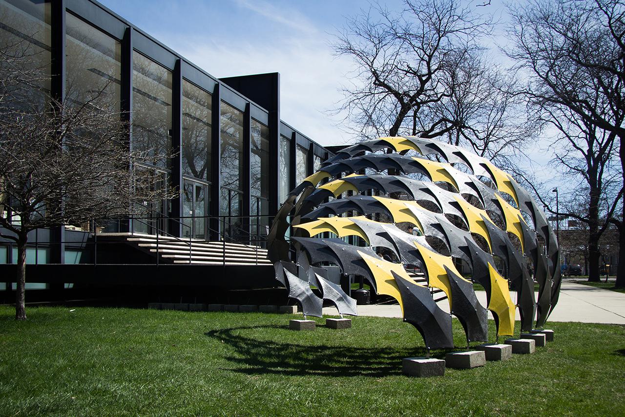 FIBERwave Pavilion on display besideS. R. CROWN HALL in the spring of 2014.