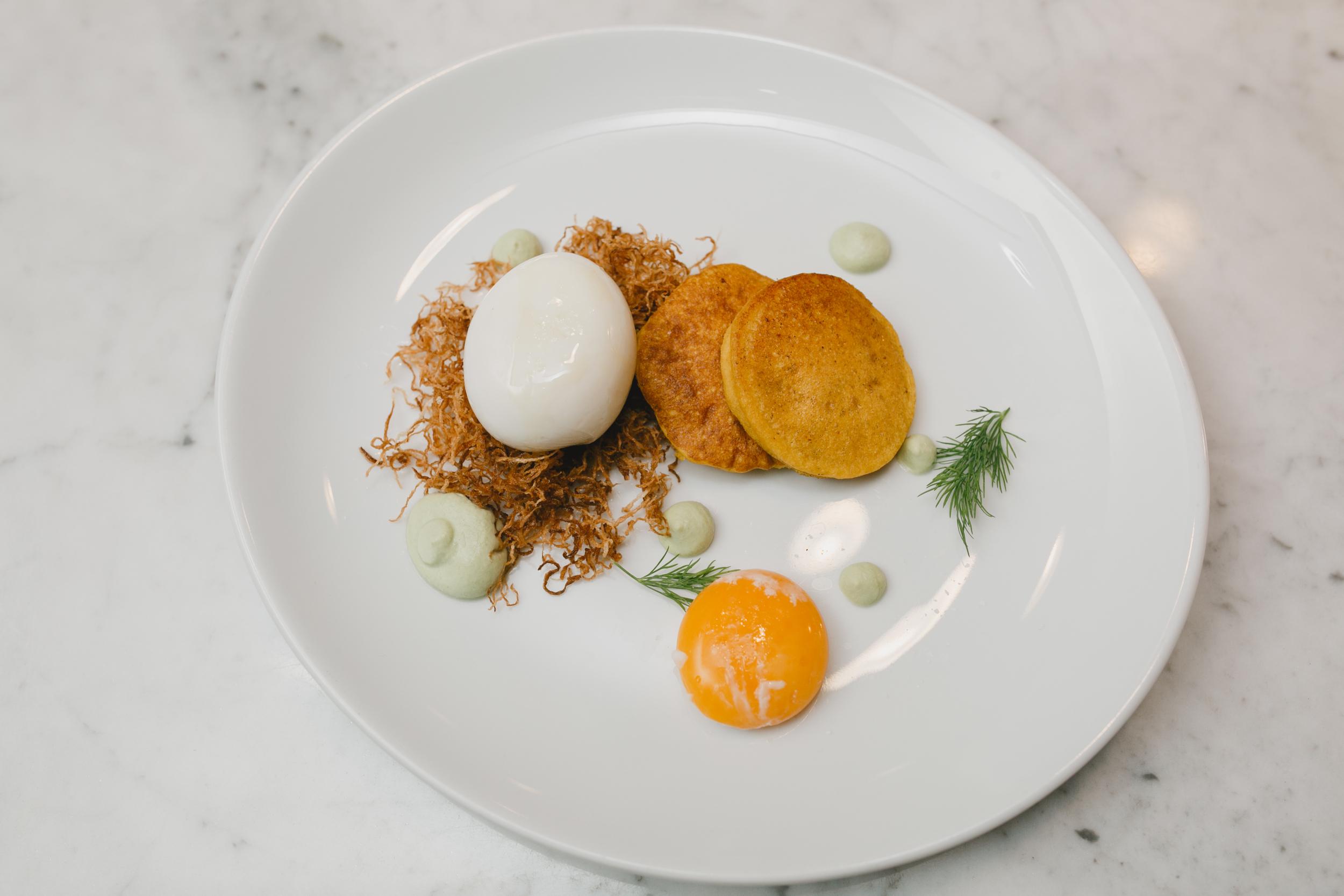 Jidori Egg Caviar //Daikon Bed, Culantro Crema, Turmeric Blini (Might have been my favorite course of the evening.)