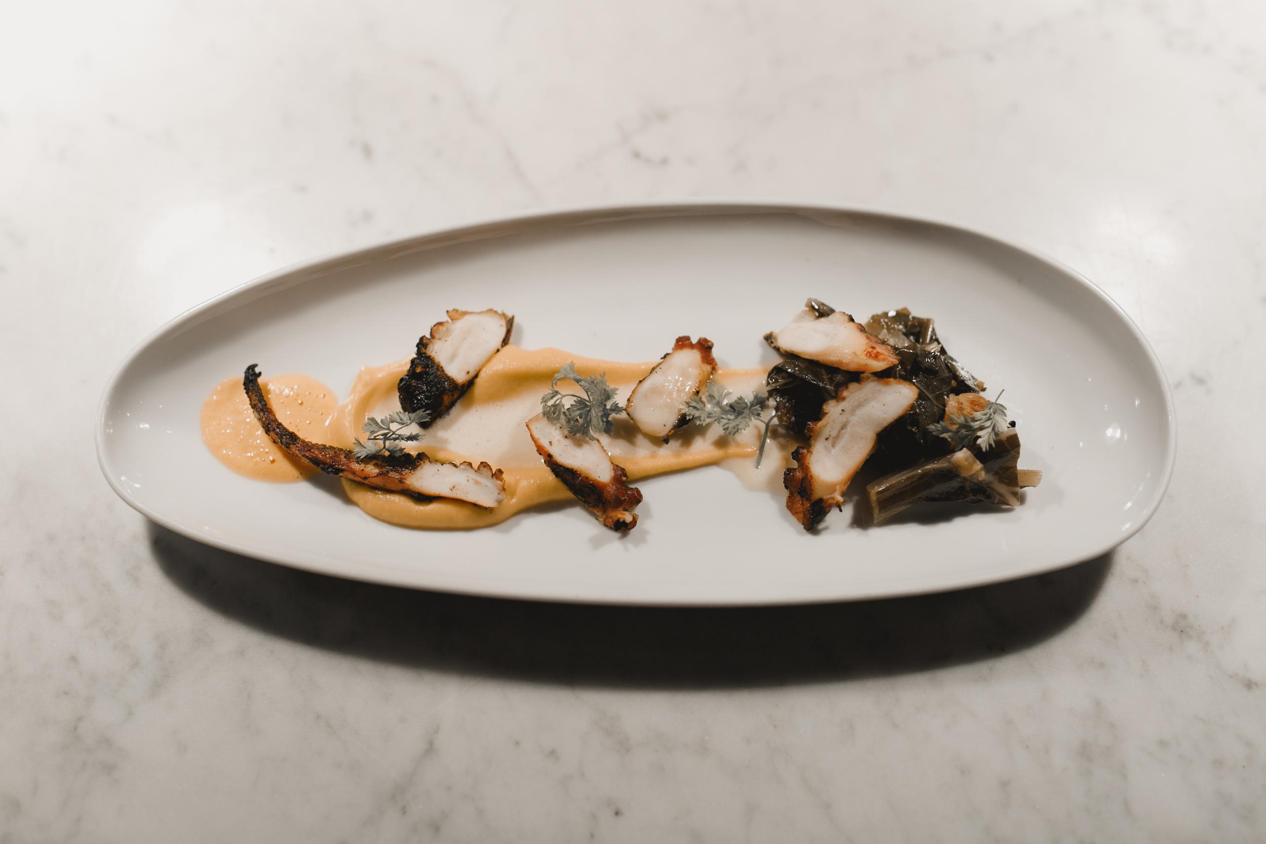 Charred Octopus: Yuzu Sabayon, Ponzu Collard Greens, Sweet Potato, Sambal Froth