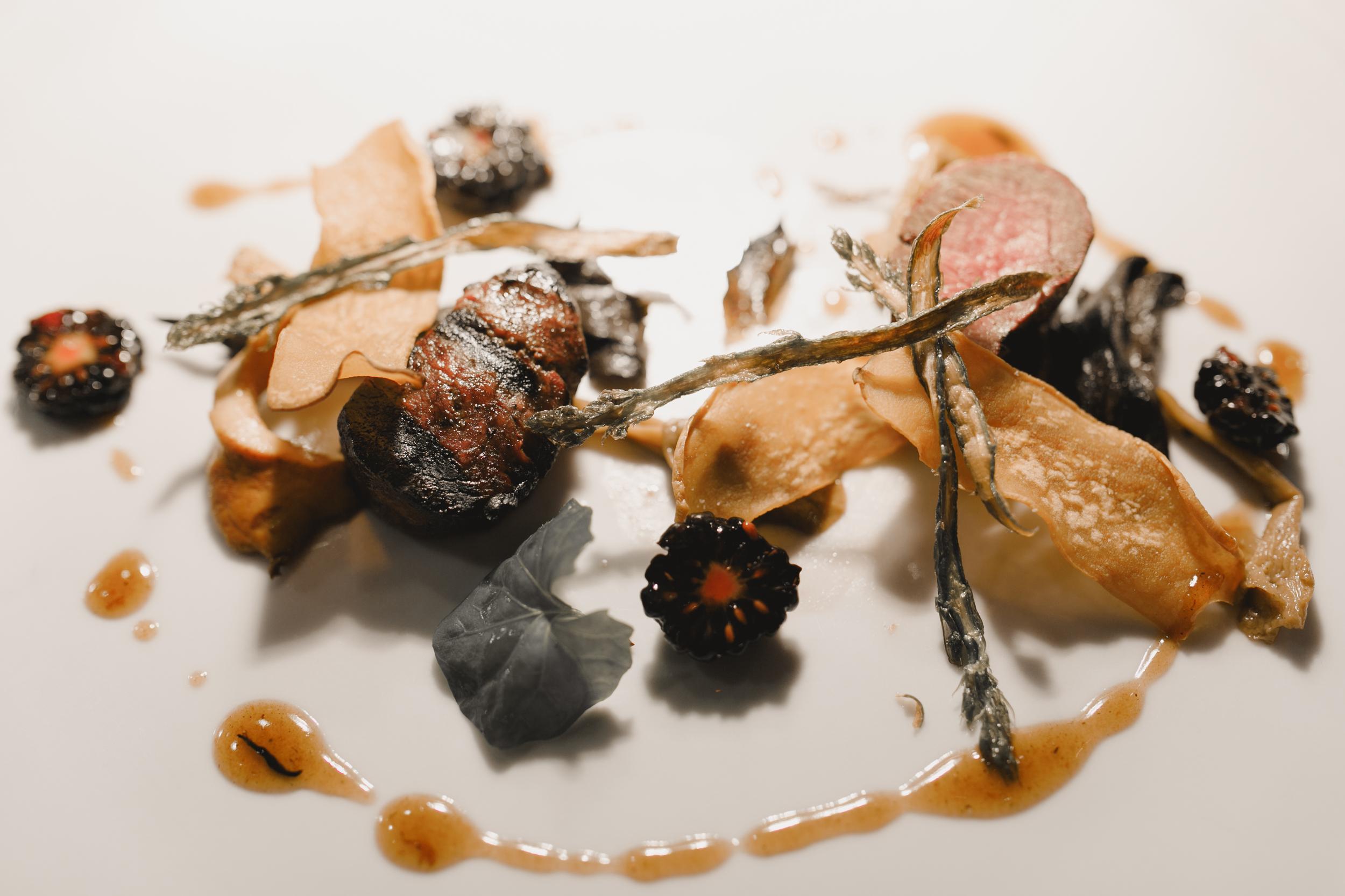 Venison: Eryngii Chips, Glazed Wild Mushrooms, Blackberry, Asparagus