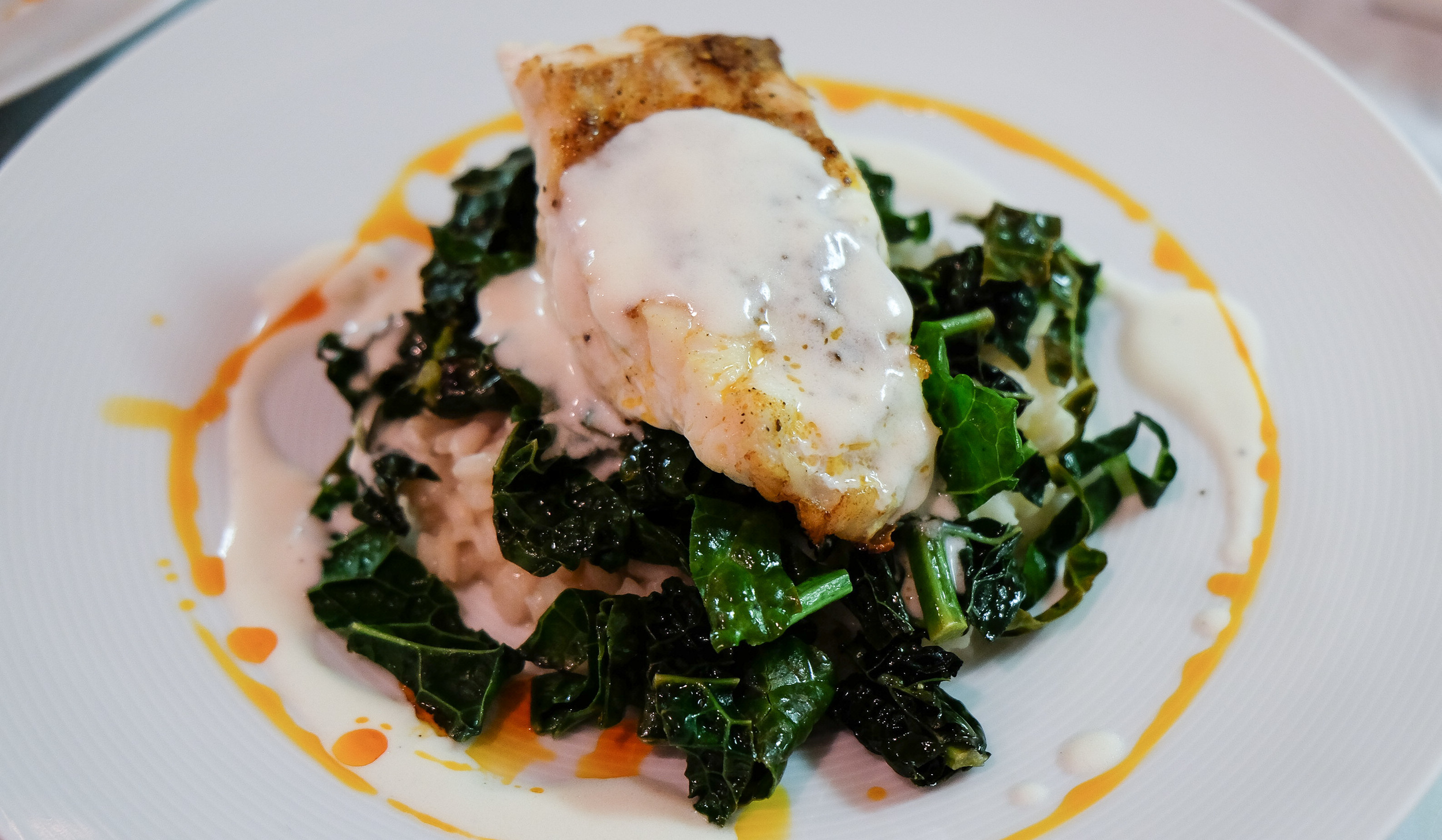 Cast Iron Seared Florida Red Grouper, Lemongrass Ginger Risotto,  Sugar Top Farms  Braised Kale, Coconut Lime Buerre Blanc