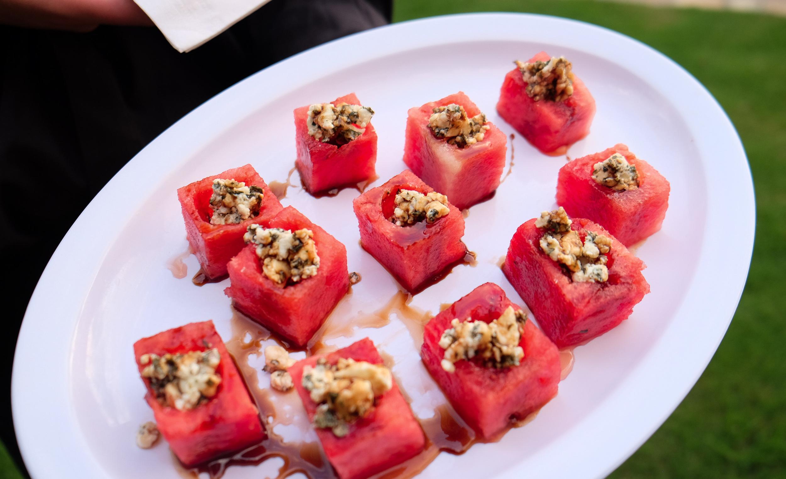Fresh Watermelon Cube with Feta, Mint & Balsamic Drizzle
