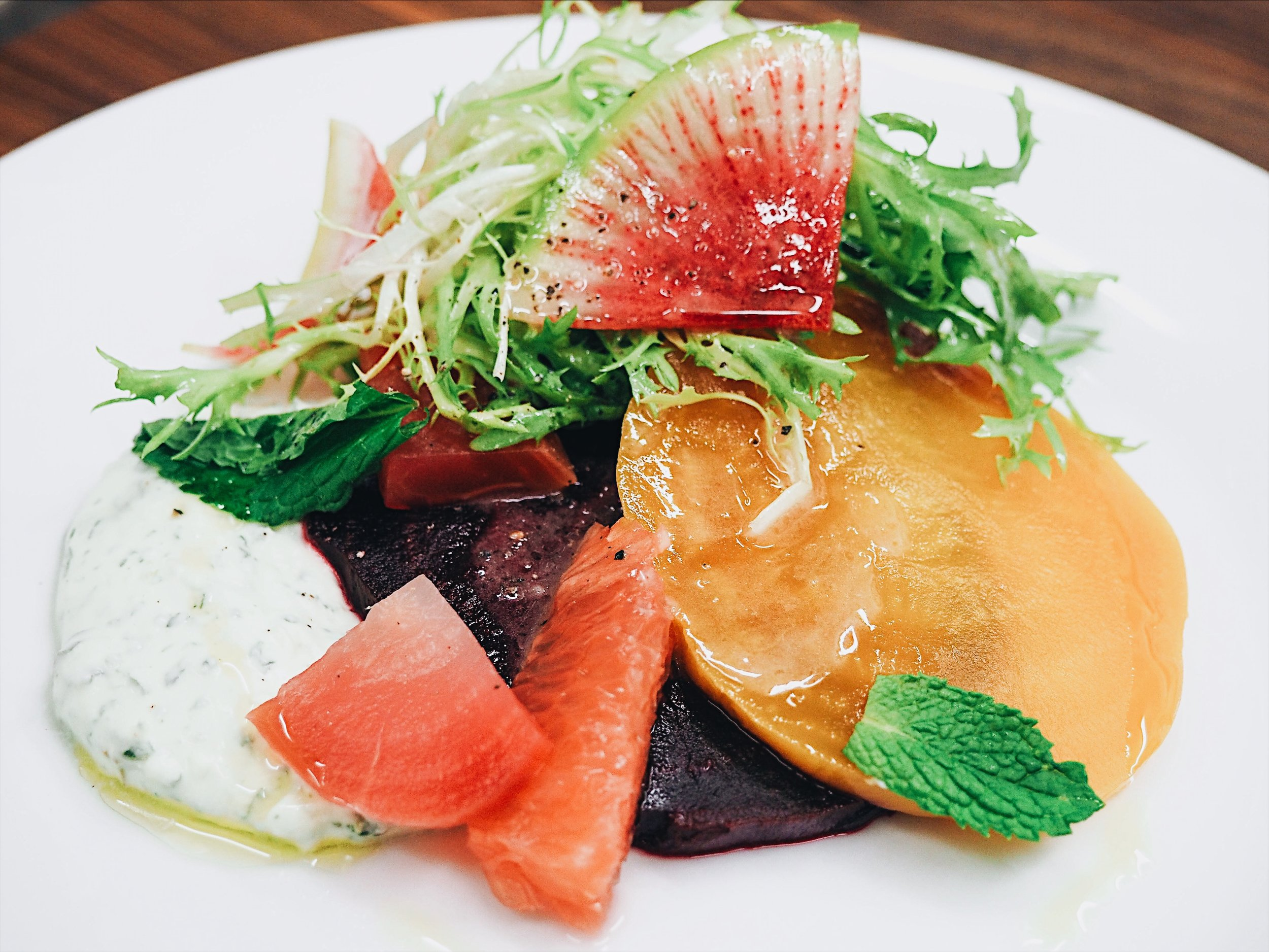 Roasted Beets Salad with Mint Creme Fraiche, Grapefruit, Frisee and Red Wine Vinaigrette