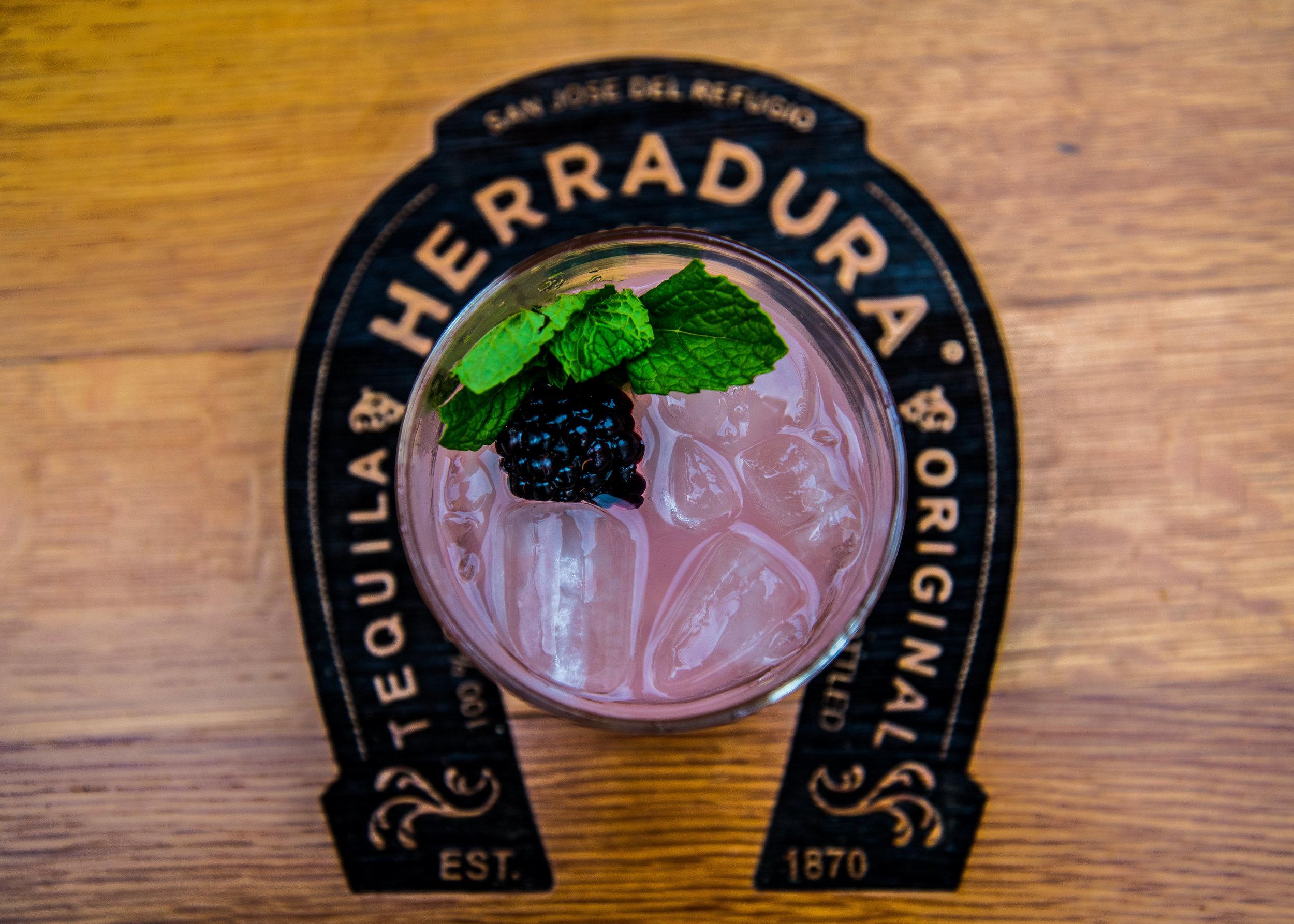 No one was complaining about these amazing  Tequila Herradura  Cocktails on tap: Black Raspberry Paloma: Herradura Silver, Grapefruit Soda, Chambord Liquor, garnished w Blackberries &Mint.Good thing there was plenty to go around!