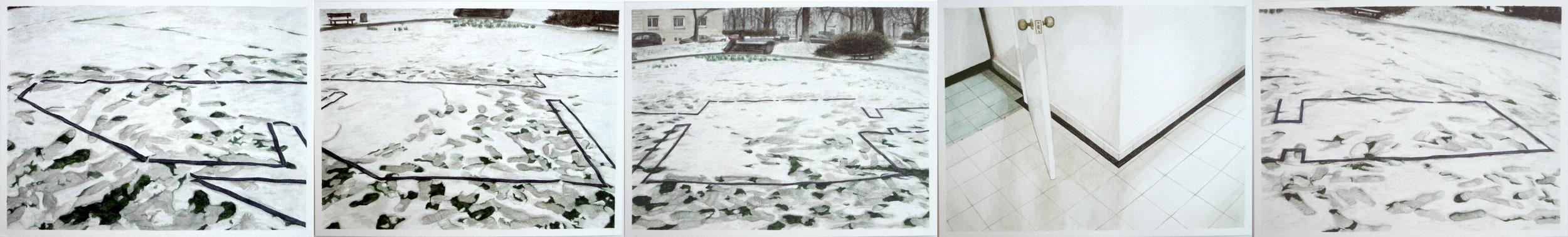 Casa portátil 1 , 2005. Acuarela sobre papel. Políptico 5 piezas,15.5 x 125 cm.
