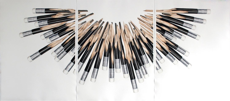 Estructura modular 1 , 2013. Acuarela sobre papel. Tríptico,105 x 235.5 cm.