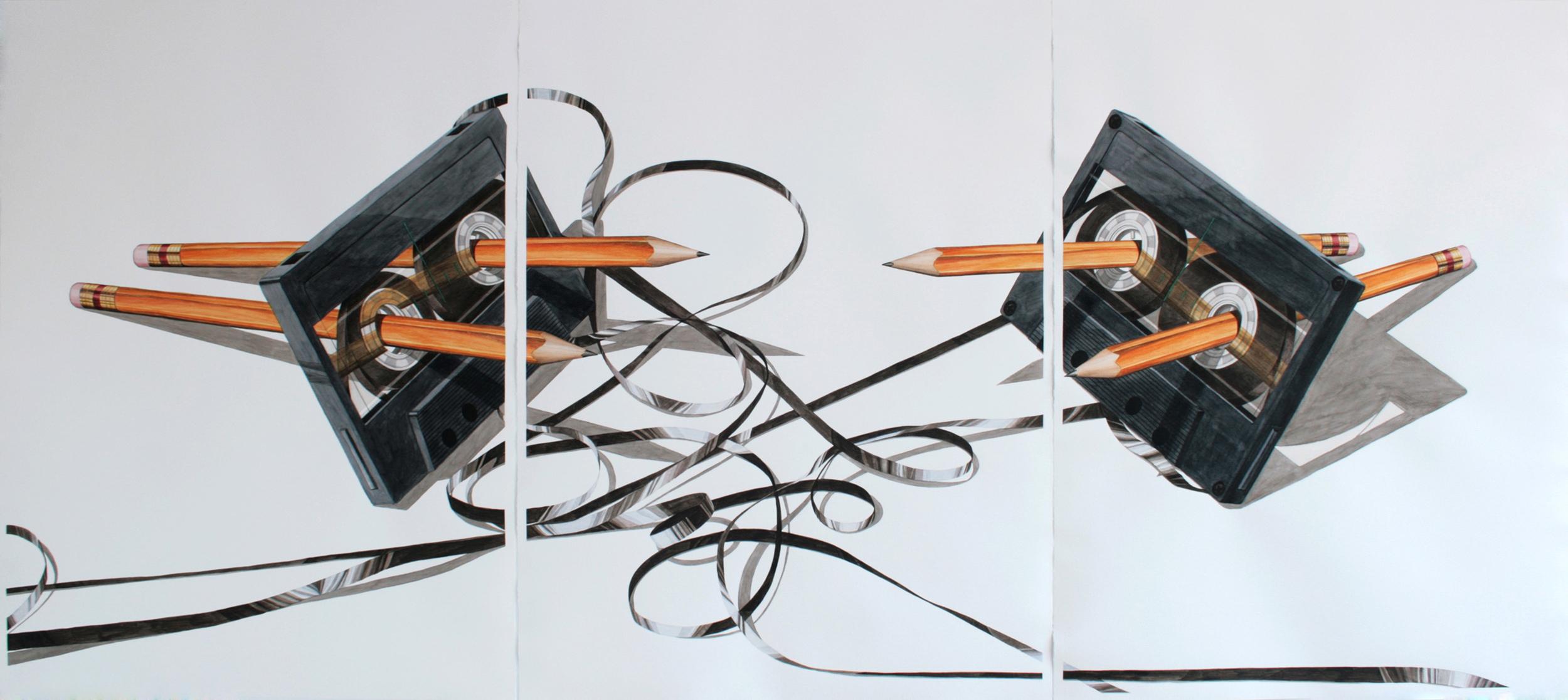 Estructura 30 , 2013. Acuarela sobre papel.Tríptico,105 x 235.5 cm.
