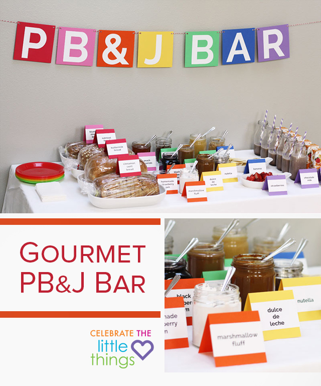 Such a fun buffet for a baby shower! Lulu the Baker knows how to dress up peanut butter and jelly.