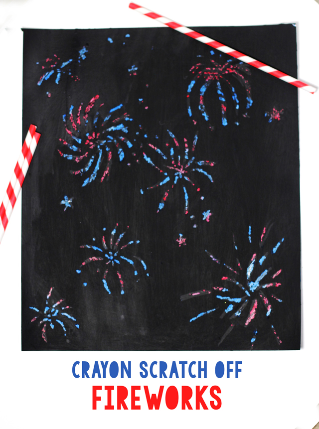 Do you remember making crayon scratch offs as a child? Enjoy the same fun with your children with firework art.