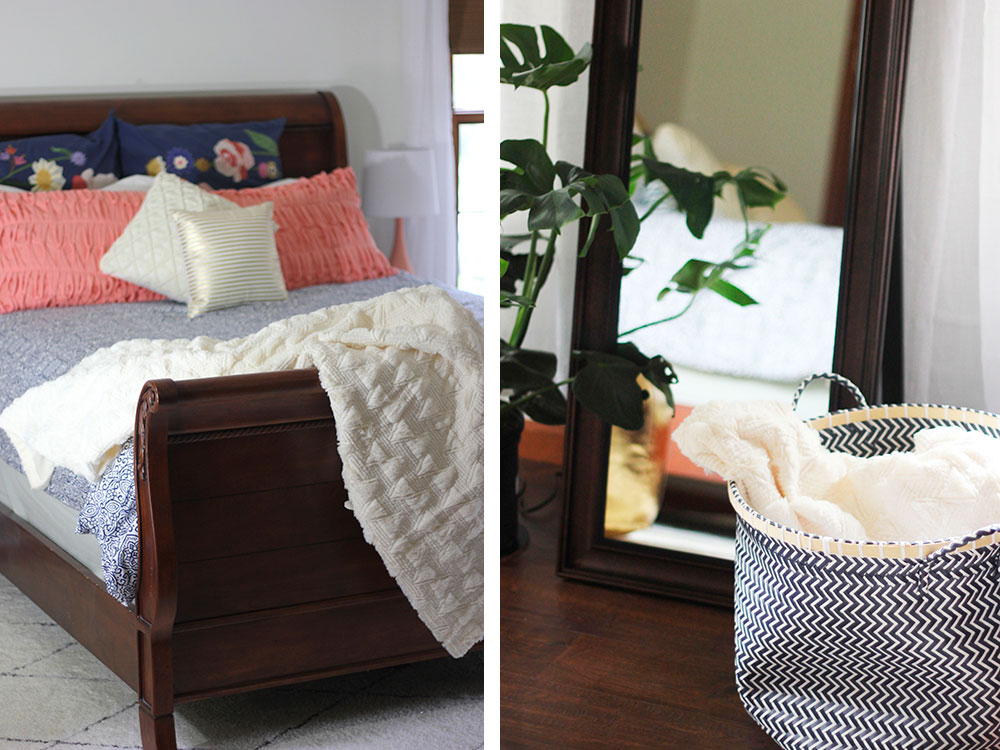 Our master bedroom got a refresh all around with new paint, fresh pillows, and new accents. It feels better than ever!