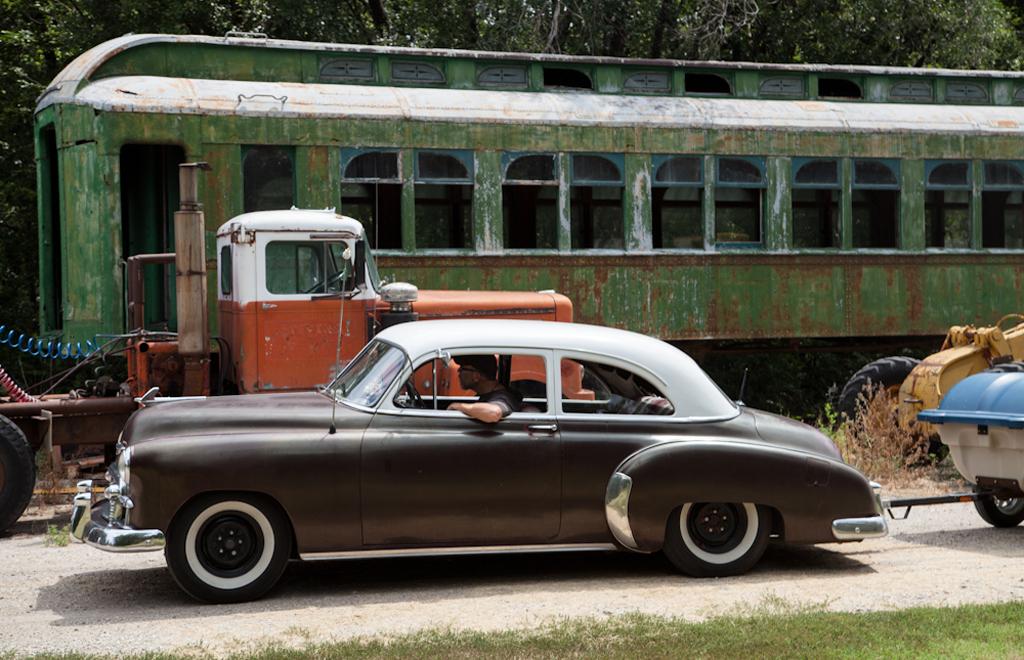 Exploring the Abilene & Smoky Valley Railroad's storage yard. Liz Leggett, Driving