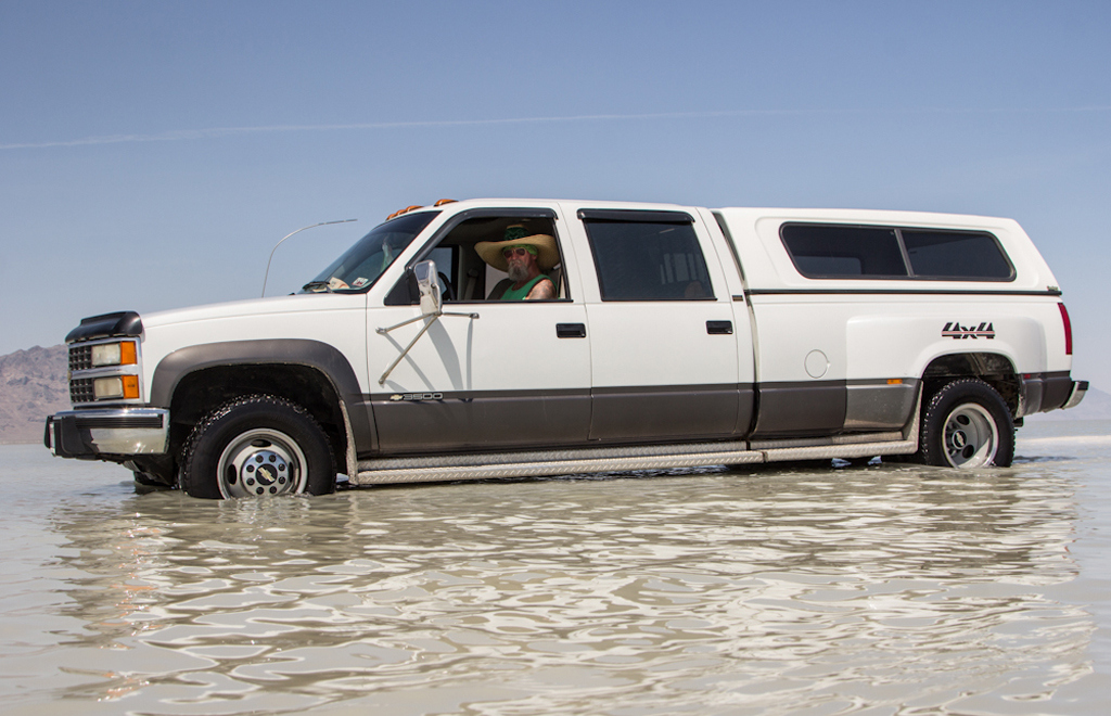Many people traveled to race on the legendary salt flats, only to be met by floods. Jim Leggett, Driving