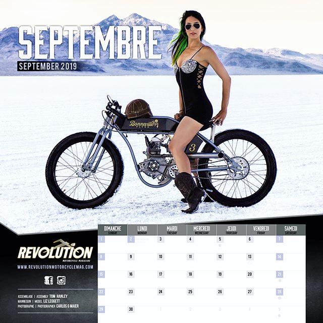 💥 Guess who's Miss September in the new 2019 @revolutionmotorcyclemag calendar?!?! ✨🔥💃🏻🔥Yours truly! 📸by @carlosgmaier ⚡️Get your copy on their site now!! 😉🙌🏻♥️ http://www.revolutionmotorcyclemag.com/product/2019-calendar/