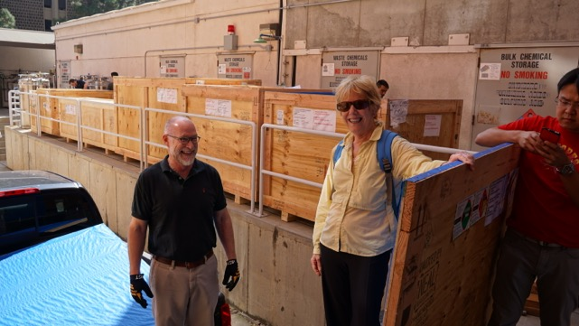 Panorama crates with Ed Y. and Karen R.