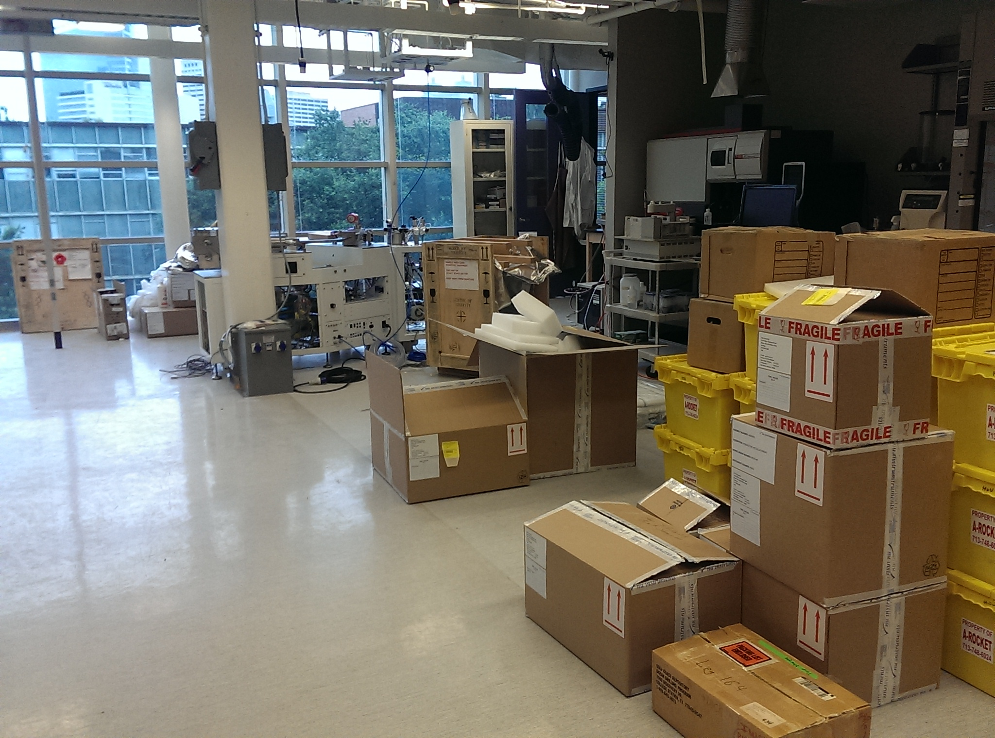The rest of the lab, now full of boxes.