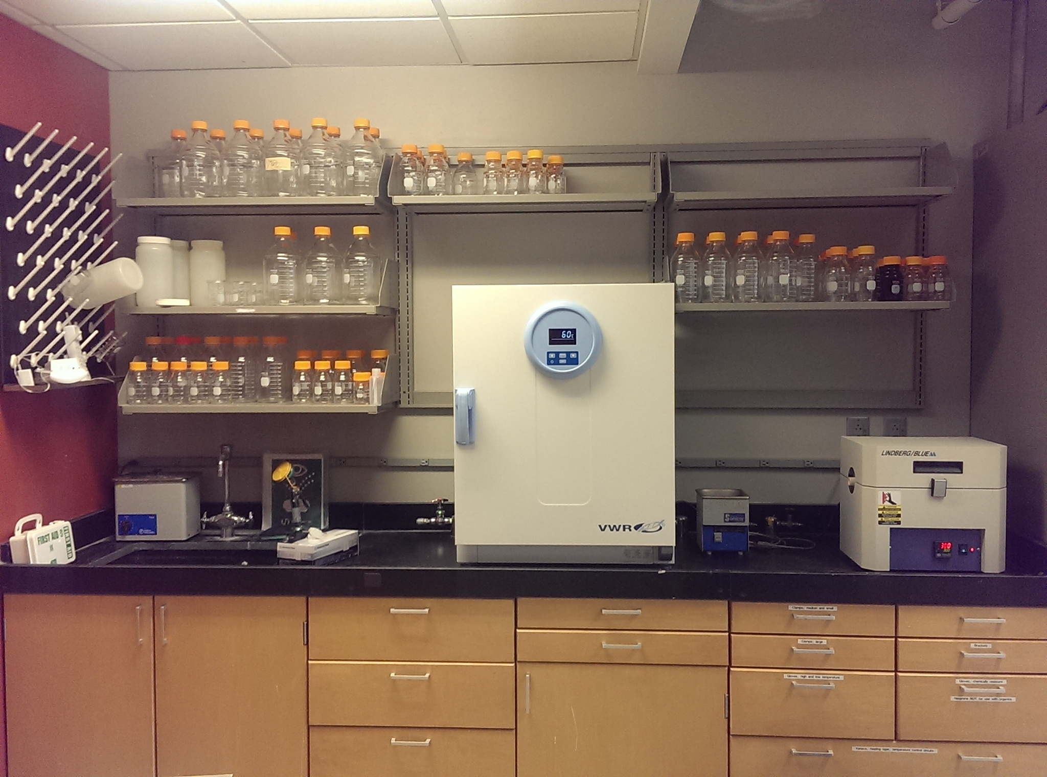 Our only lab bench so far (others are coming in September) with low- and high-temperature ovens in place.