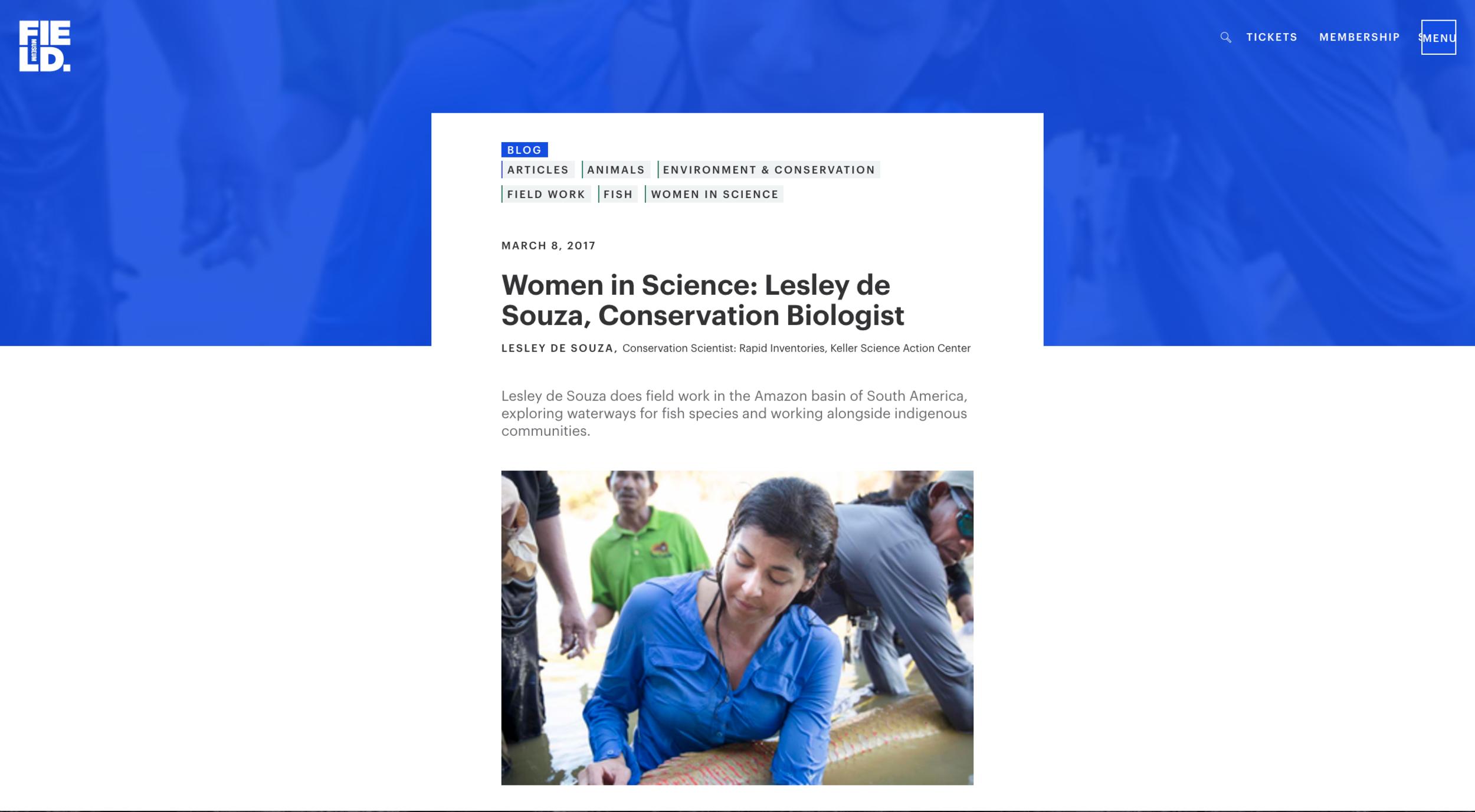 Women in Science feature on Field Museum website