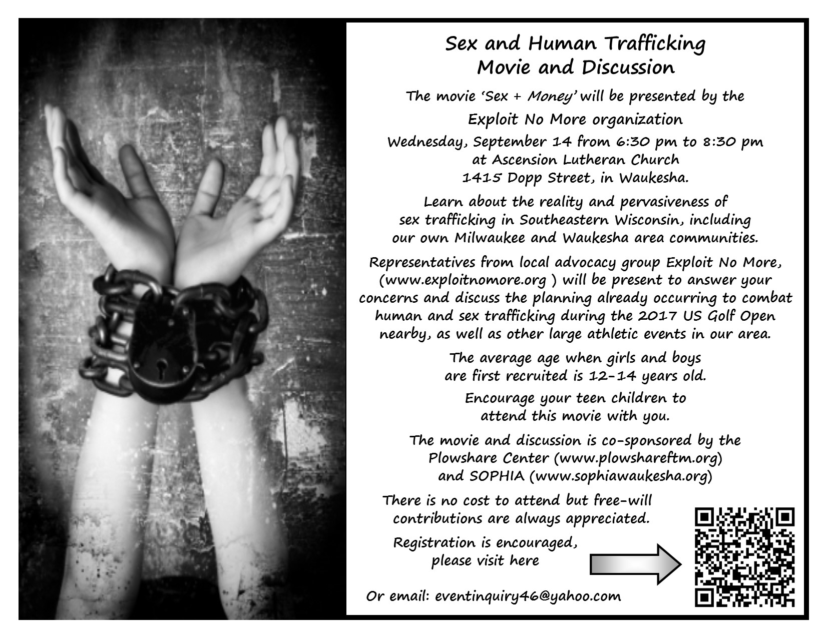 You can register at the link below:   https://www.eventbrite.com/e/sex-money-human-trafficking-movie-and-discussion-tickets-26293358142?aff=es2
