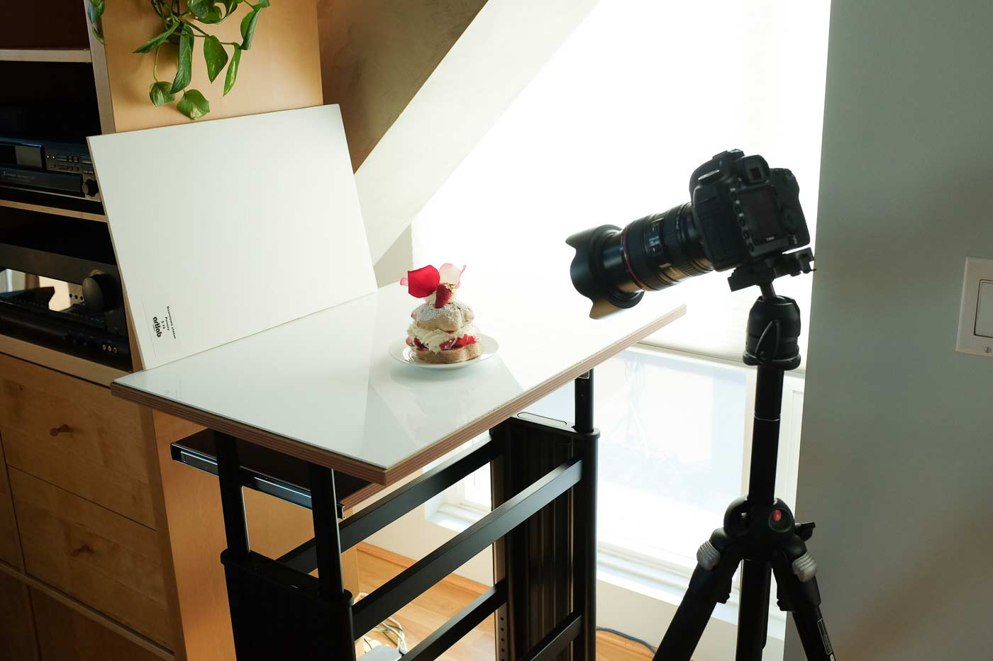 Setup 2: Near a sunny window with the shade drawn for diffusion