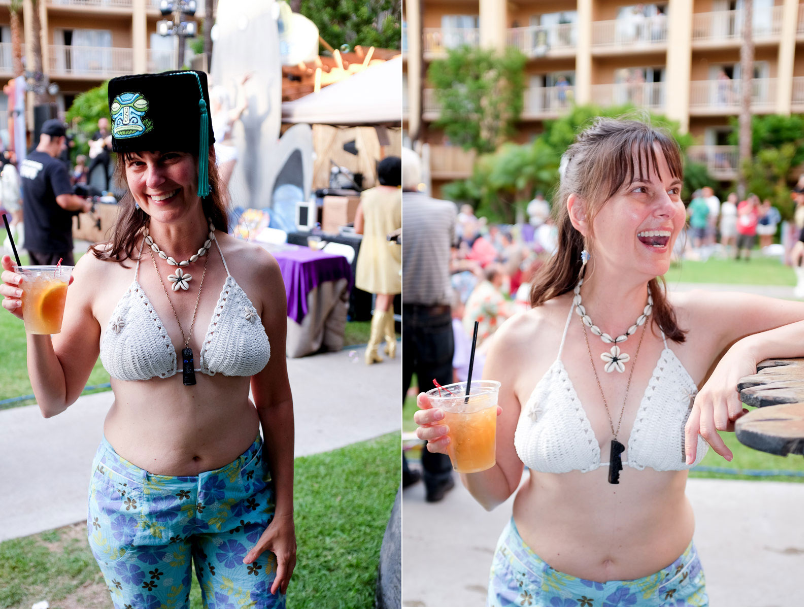 The built-in flash on the Fuji is never going to compete with a speedlight, but it's fine for creating fill light. Here's Julie with and without fill flash.  Now the party is getting started!