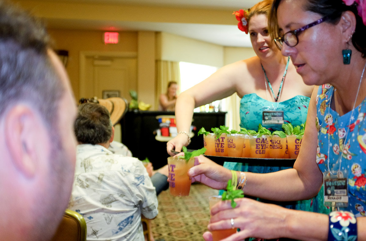 Drinks being served to the audience at the Bartenders Battle
