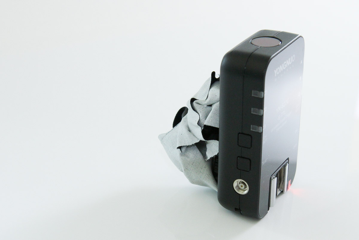 The gaffer-tape blob that I used to prop up the trigger in the second photo