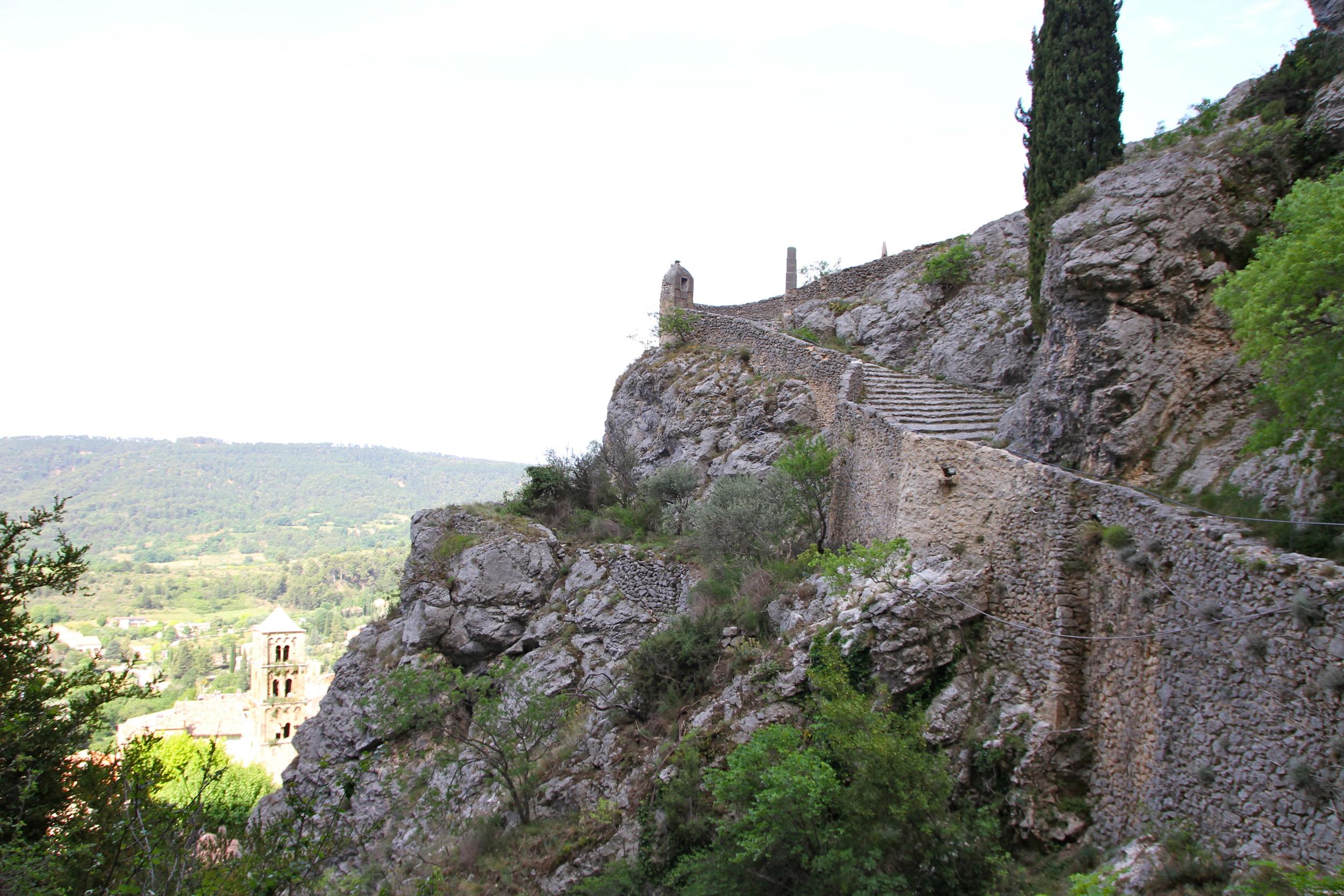 Stairs up towards the Notre-Dame de Beauvoir chapel, Moustiers-Sainte-Marie.