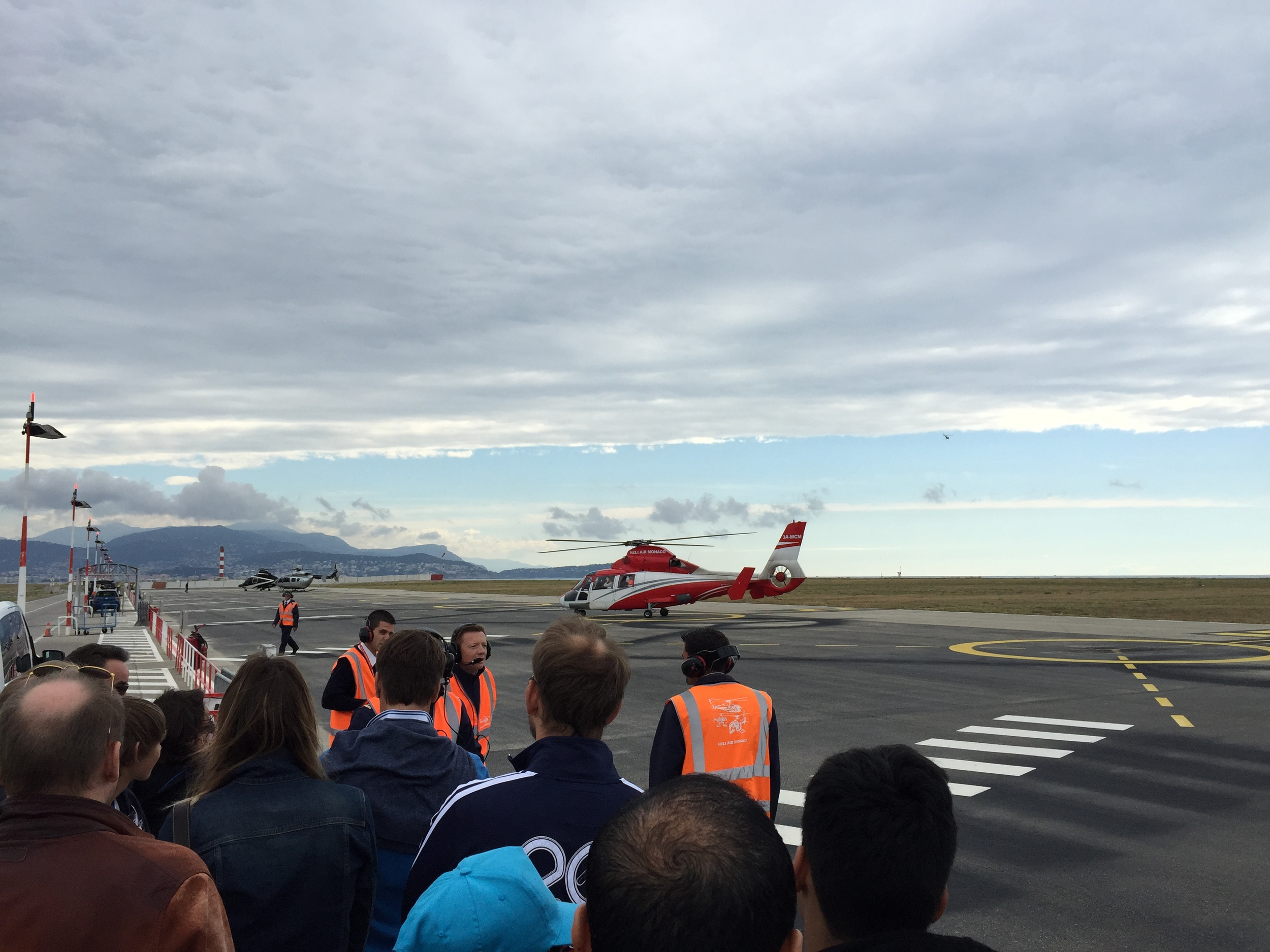 The line up for the helicopters reminded me of the taxi cab line up outside Vancouver International Airport.