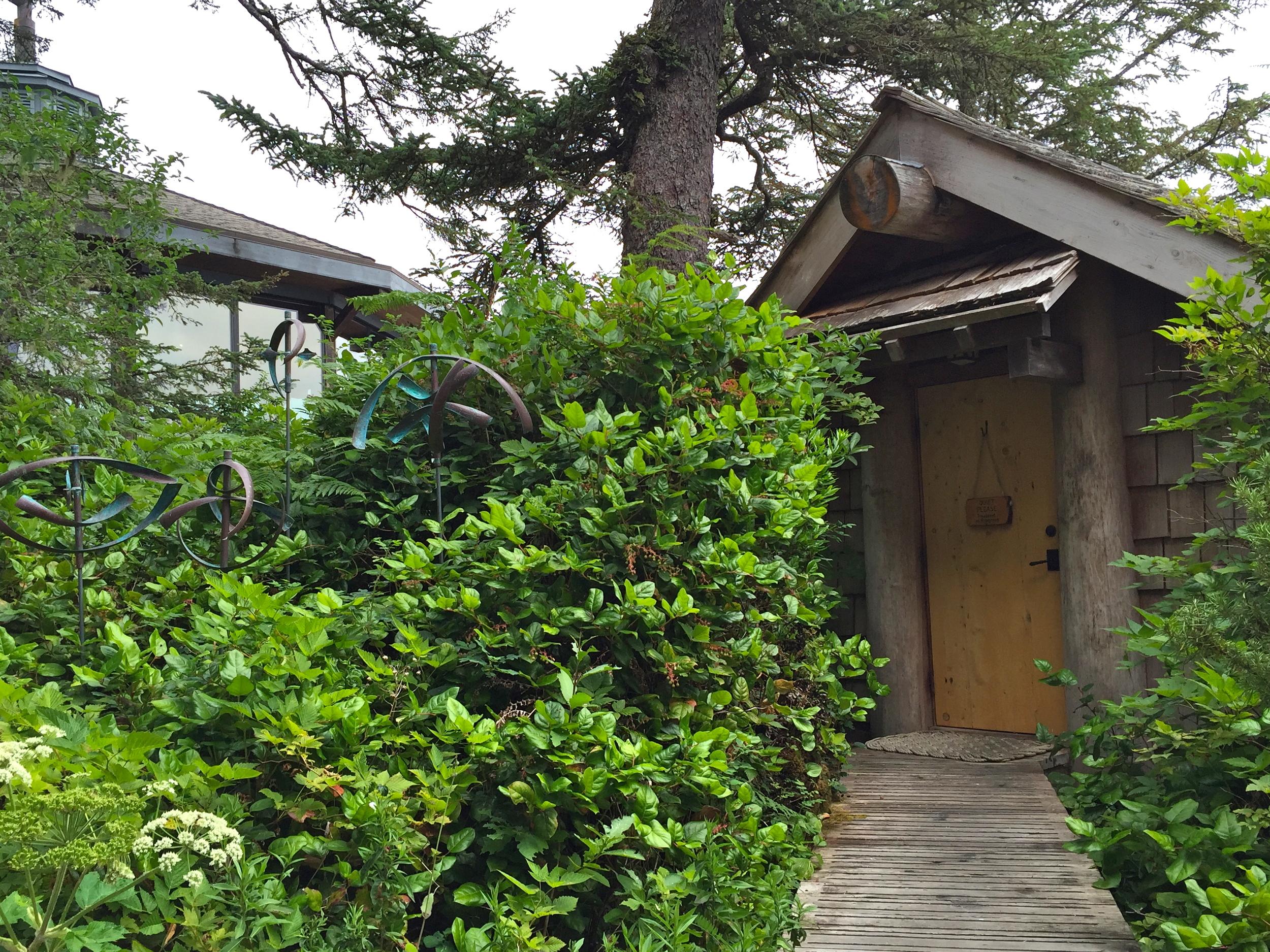 Cedar sanctuary beach cabin. Ancient Cedars Spa, Wickaninnish Inn, Tofino, BC, Canada.