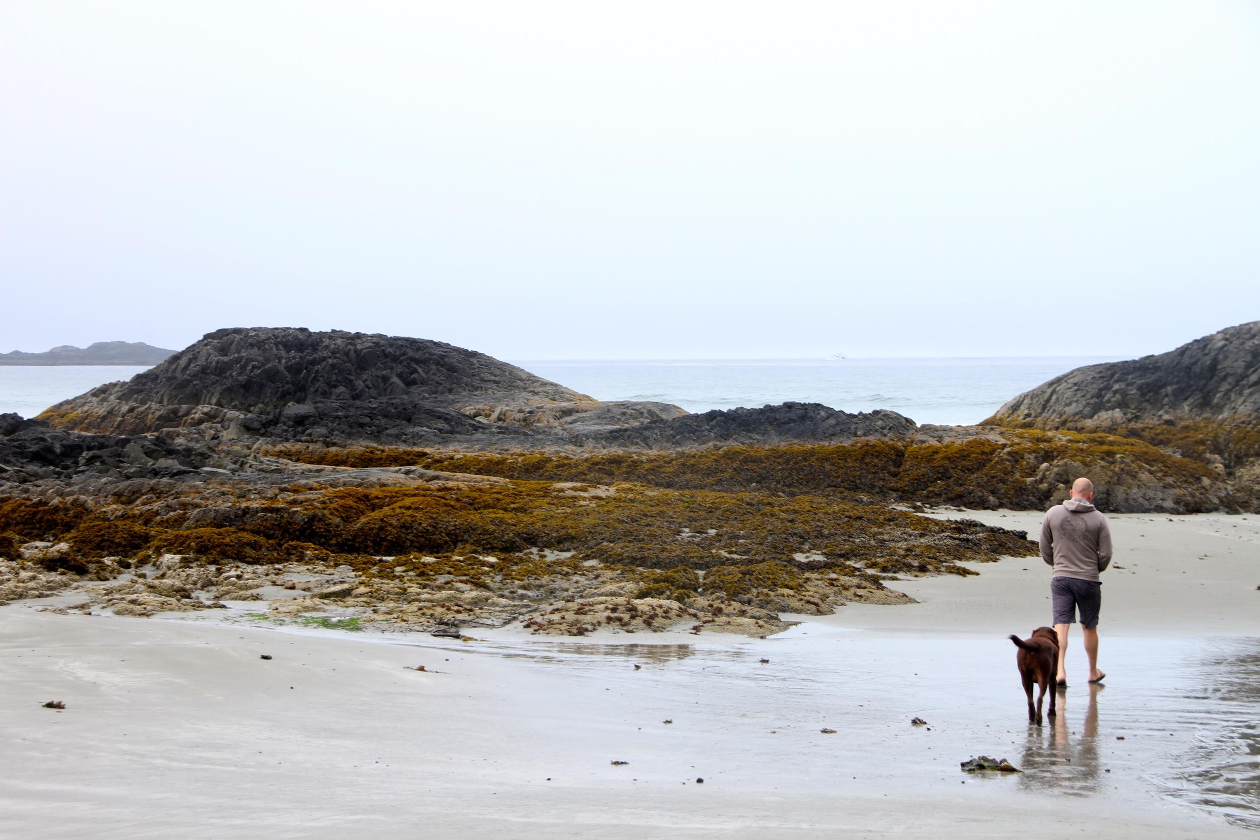 Beach walk. Chesterman Beach, Tofino, BC, Canada.