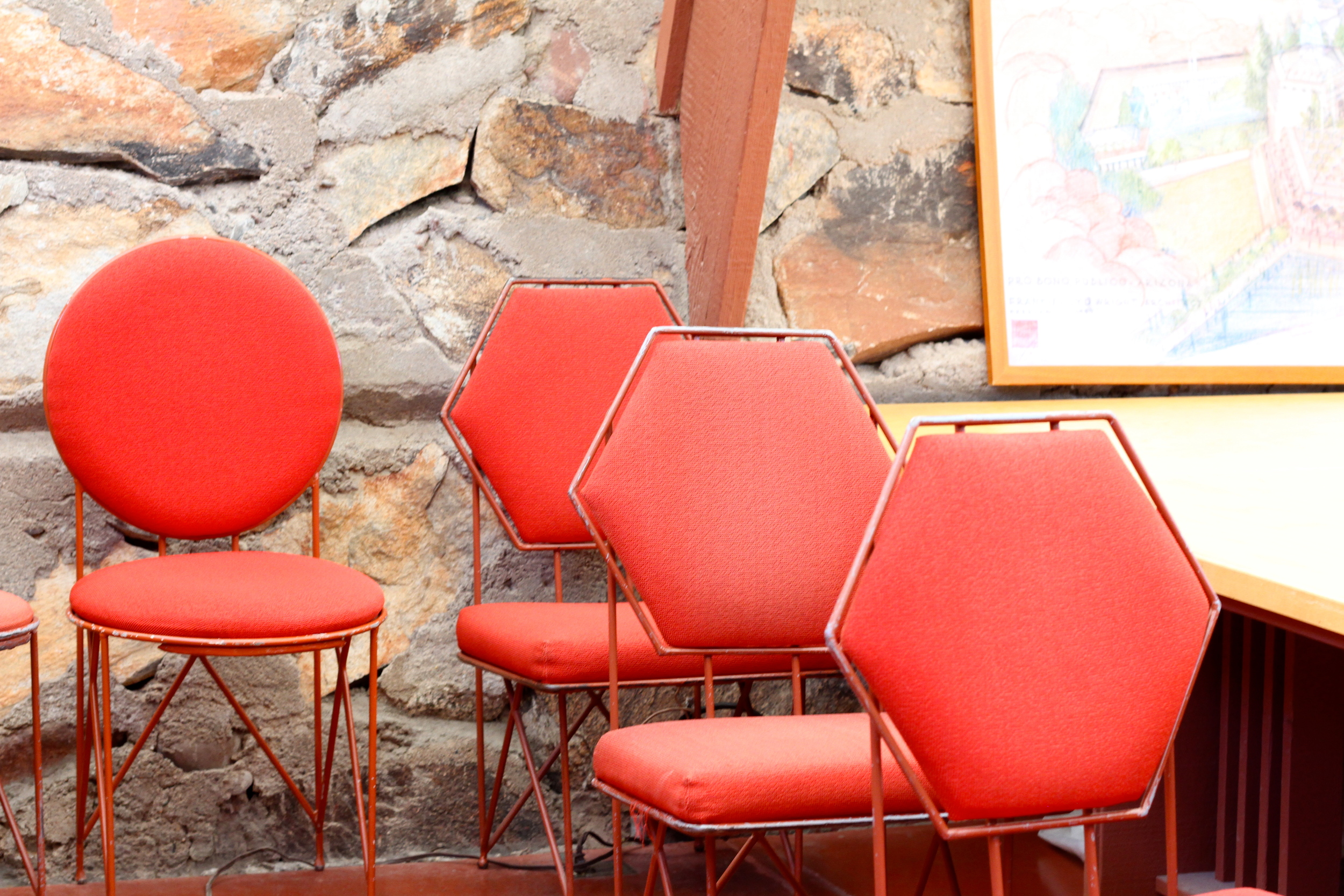 Mr. Wright sure did like his geometry! Office chairs at Taliesin West.
