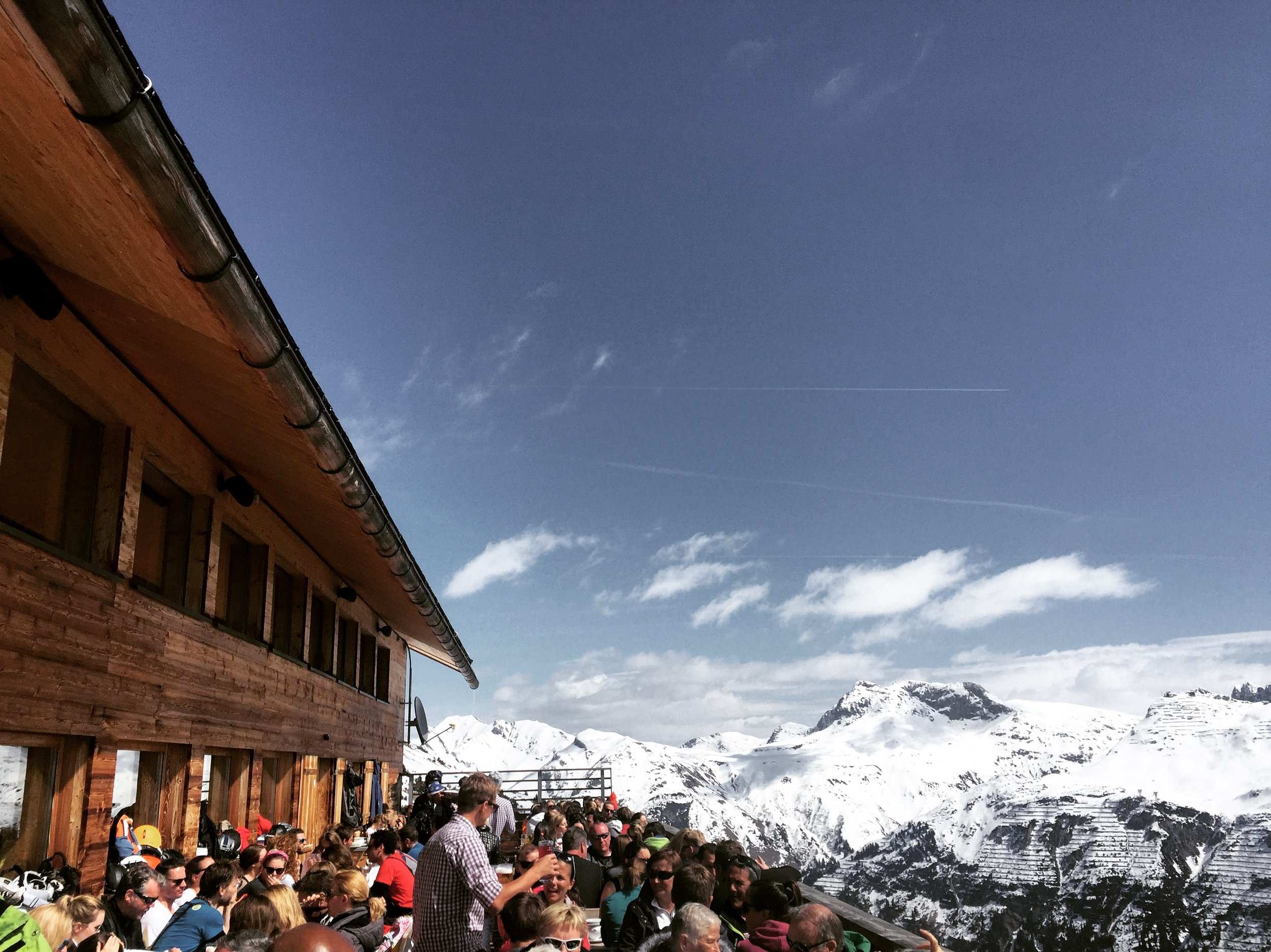 The outdoor sun terrace at Balmalp, Lech, Austria.