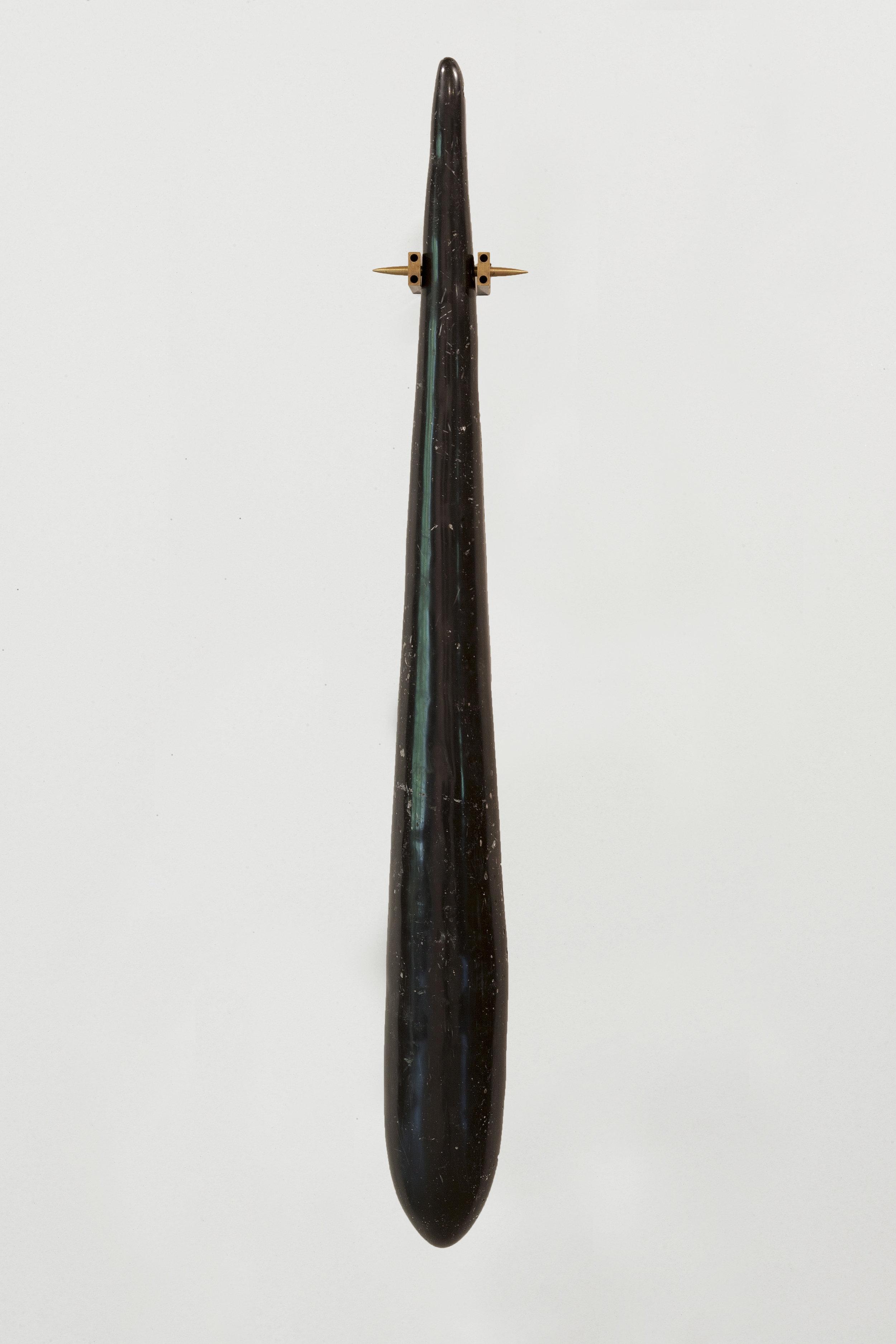 Tezontle,   Olla,  2018. Resin, fiberglass, brass, 93 x 32 cm. (36.6 x 12.5 in.)