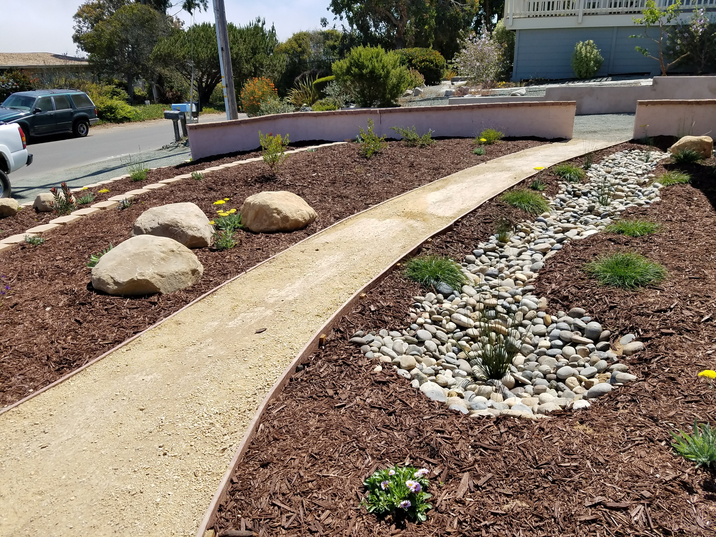 DG Path with native planting and Bioswale