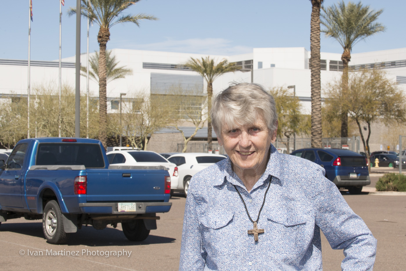 Sister Mag of Sisters of Notre Dam de Namur in from of the Buckeye Jail in Phoenix