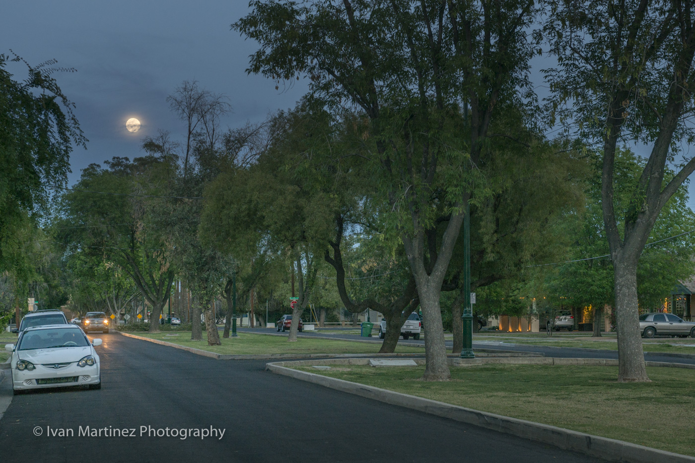 Second Street Historic District Downtown Mesa under the full moon. Photo by Ivan Martinez Photography