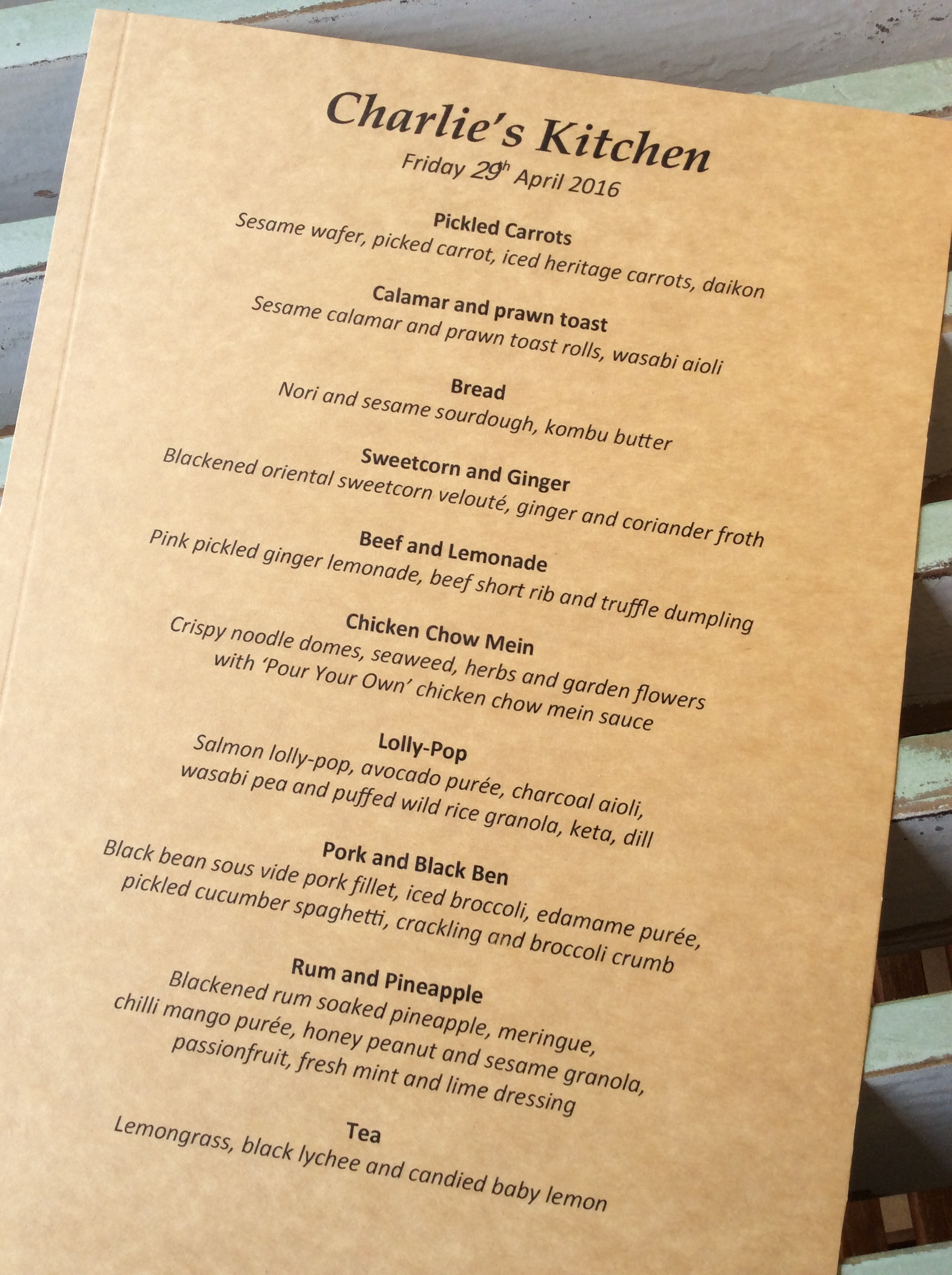 Charlie's Kitchen Menu April 2016