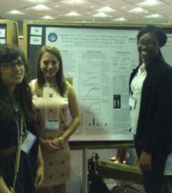Kelly DiGeronimo, Amanda Finck, and Nene Sy at the University of Maryland Baltimore County Undergraduate Research Symposium (2015)
