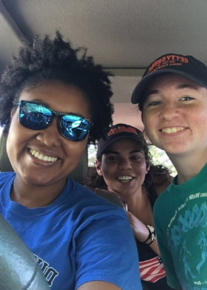 Summer '17 on the way to kayak @ Michaux State Forest (Left to Right: Zakiya, Hannah, & Sarah)