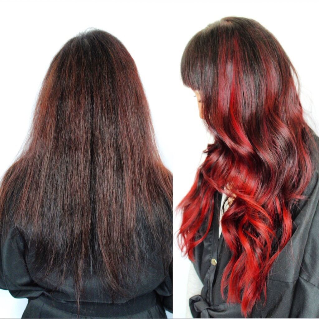2 rows of ruby flame NBR for dream haircolor and density