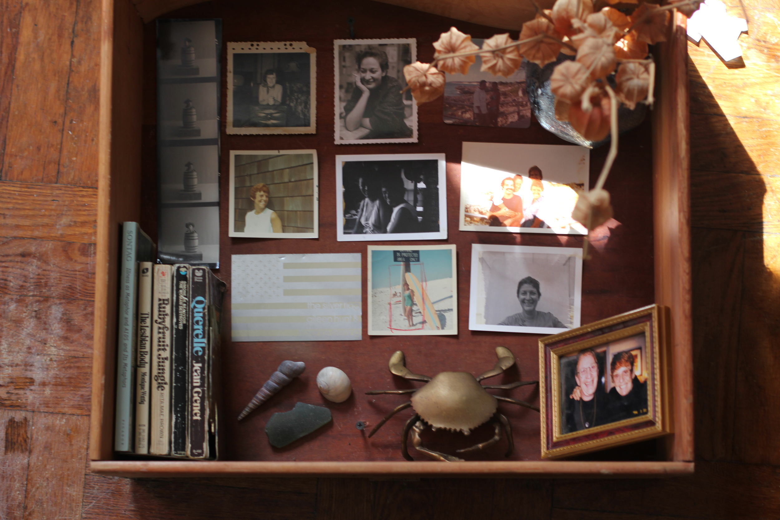 an empty drawer decorated with old photographs, books, and sea shells