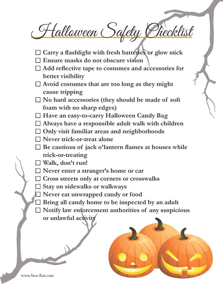 Printable Halloween Safety Checklist from www.Swa-Rai.com