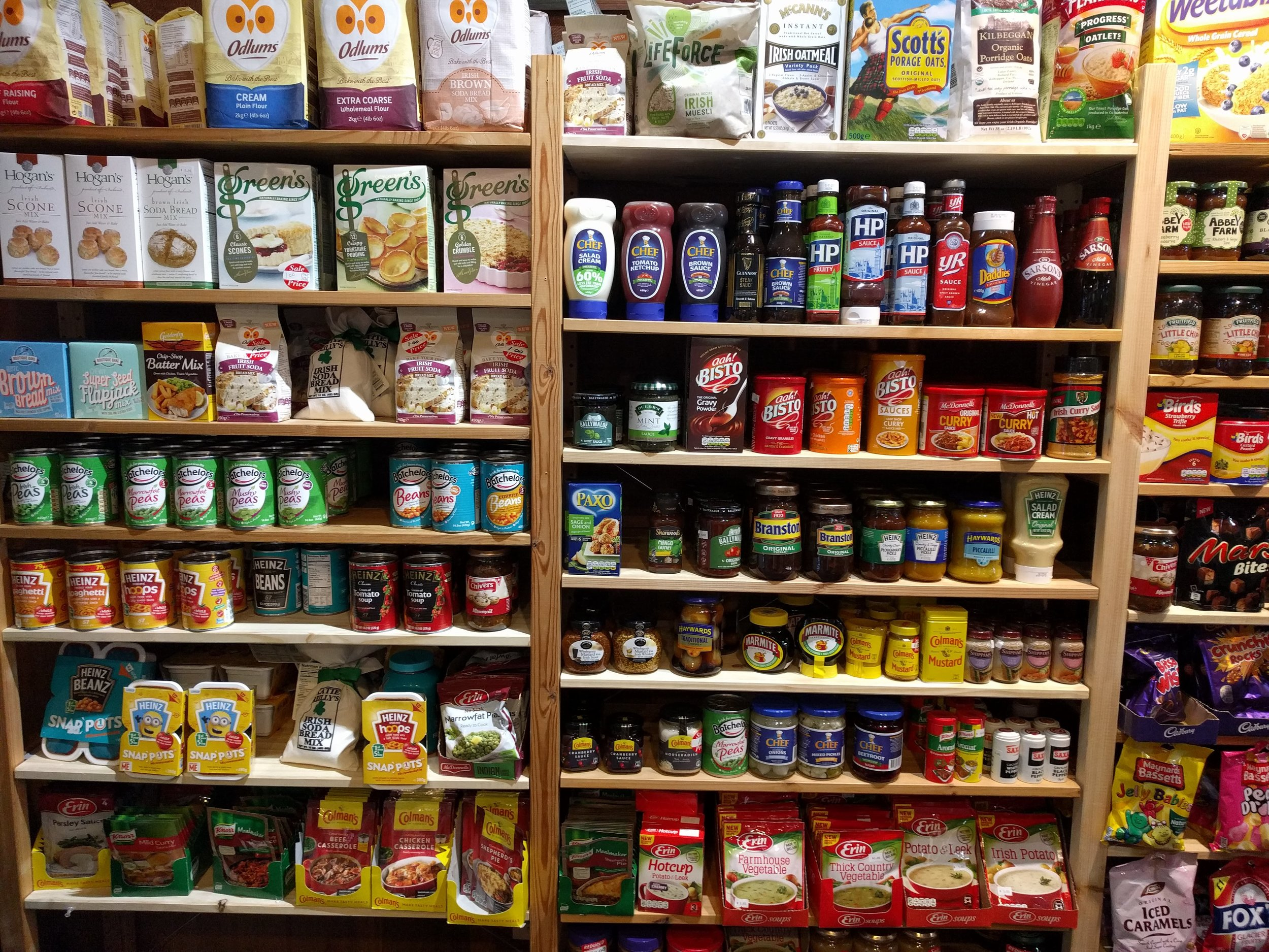 Something for everyone. I always gravitate towards the baking mixes, flours and condiments. Paul went for the curried baked beans and Shepherd's pie mix. The kids, of course, want ALL the snacks and candy.